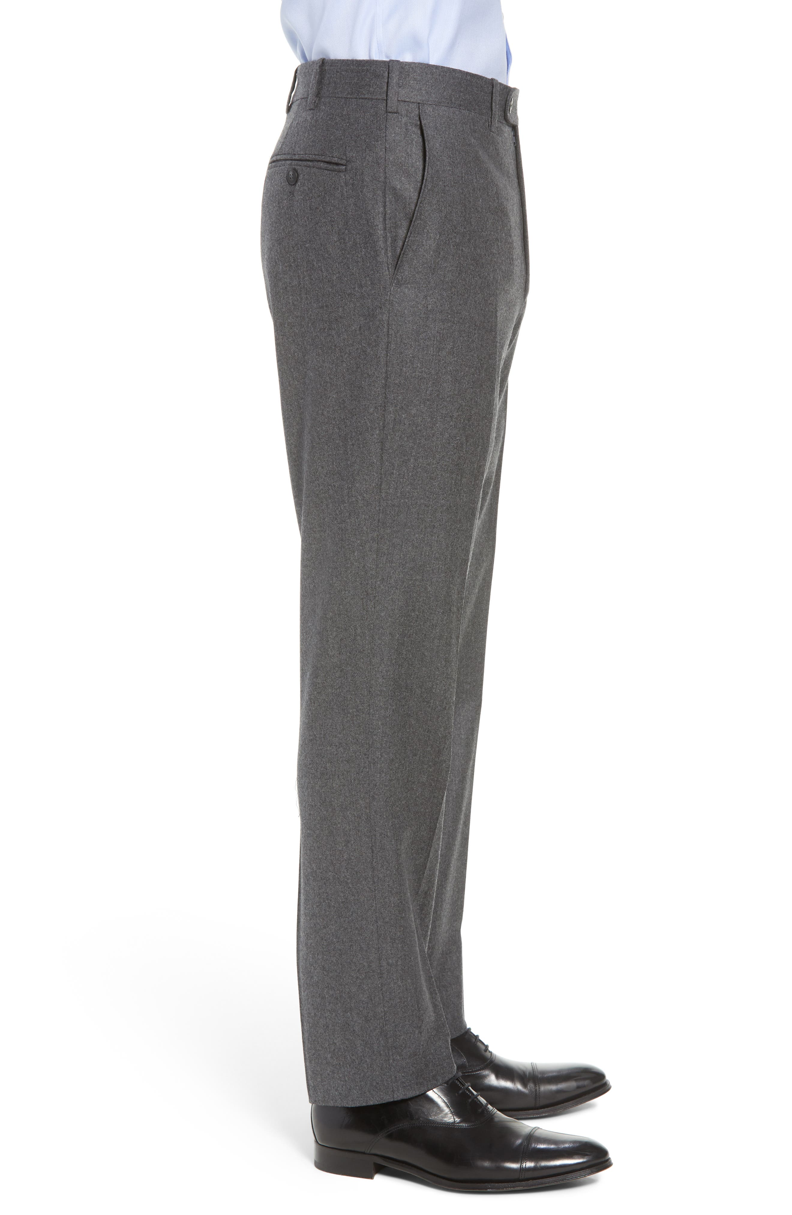 Torino Traditional Fit Flat Front Solid Wool & Cashmere Trousers,                             Alternate thumbnail 3, color,                             MID GREY