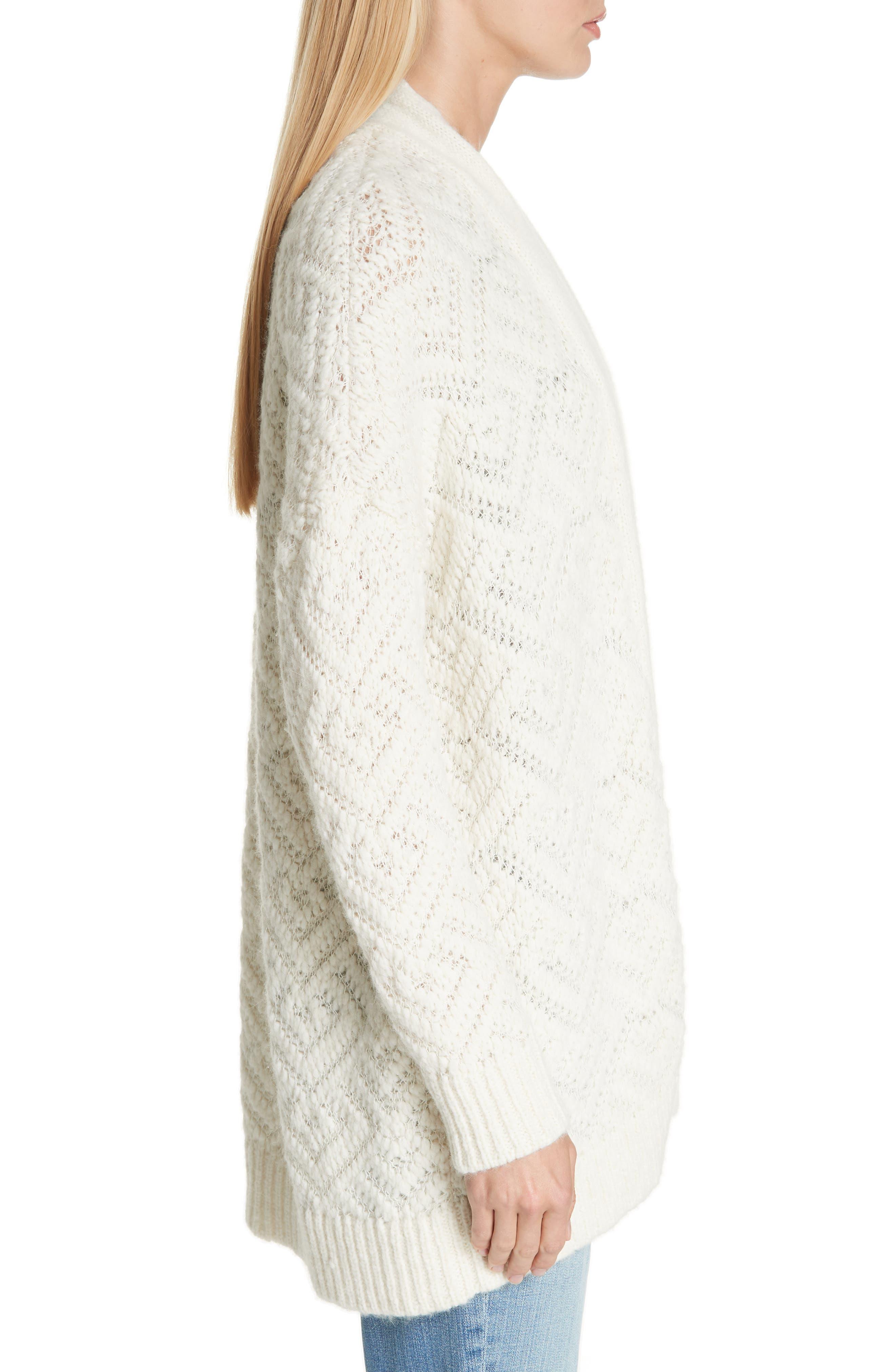 Simple Cardigan,                             Alternate thumbnail 3, color,                             SOFT WHITE