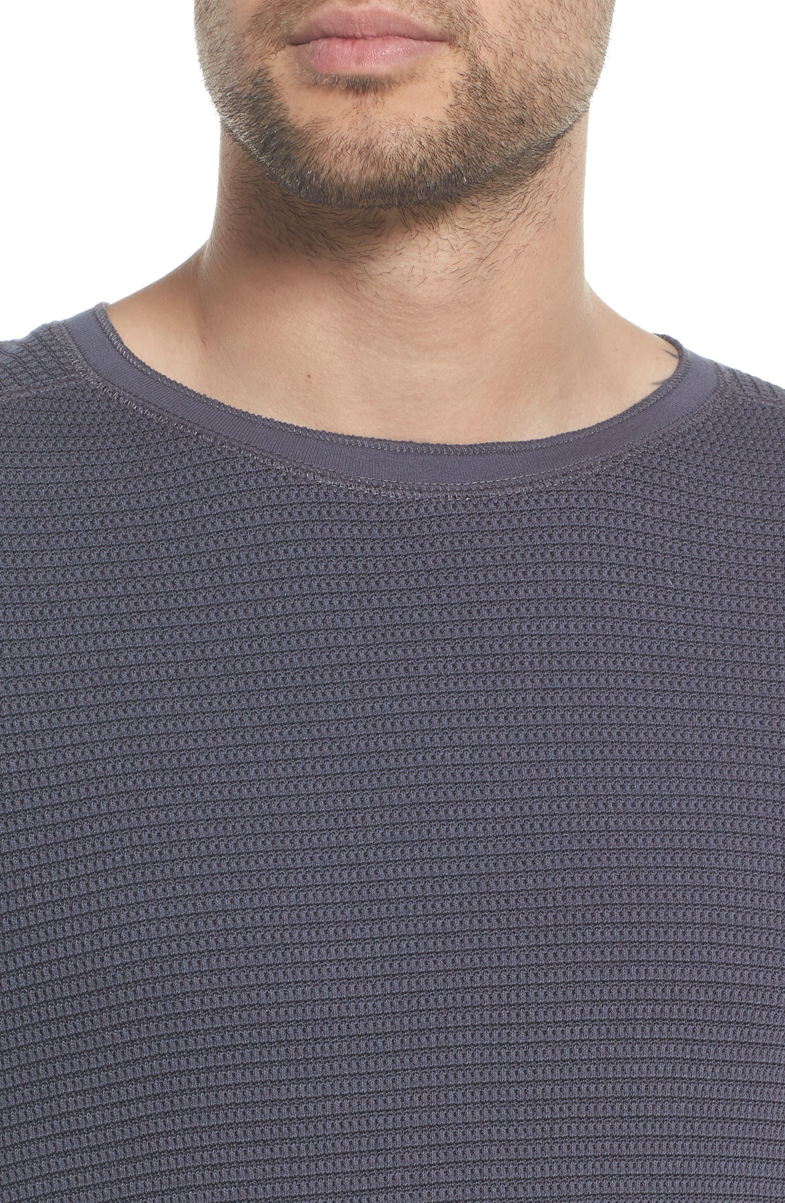 Regular Fit Waffle Knit Cotton Blend Crewneck T-Shirt,                             Alternate thumbnail 4, color,                             TITANIUM