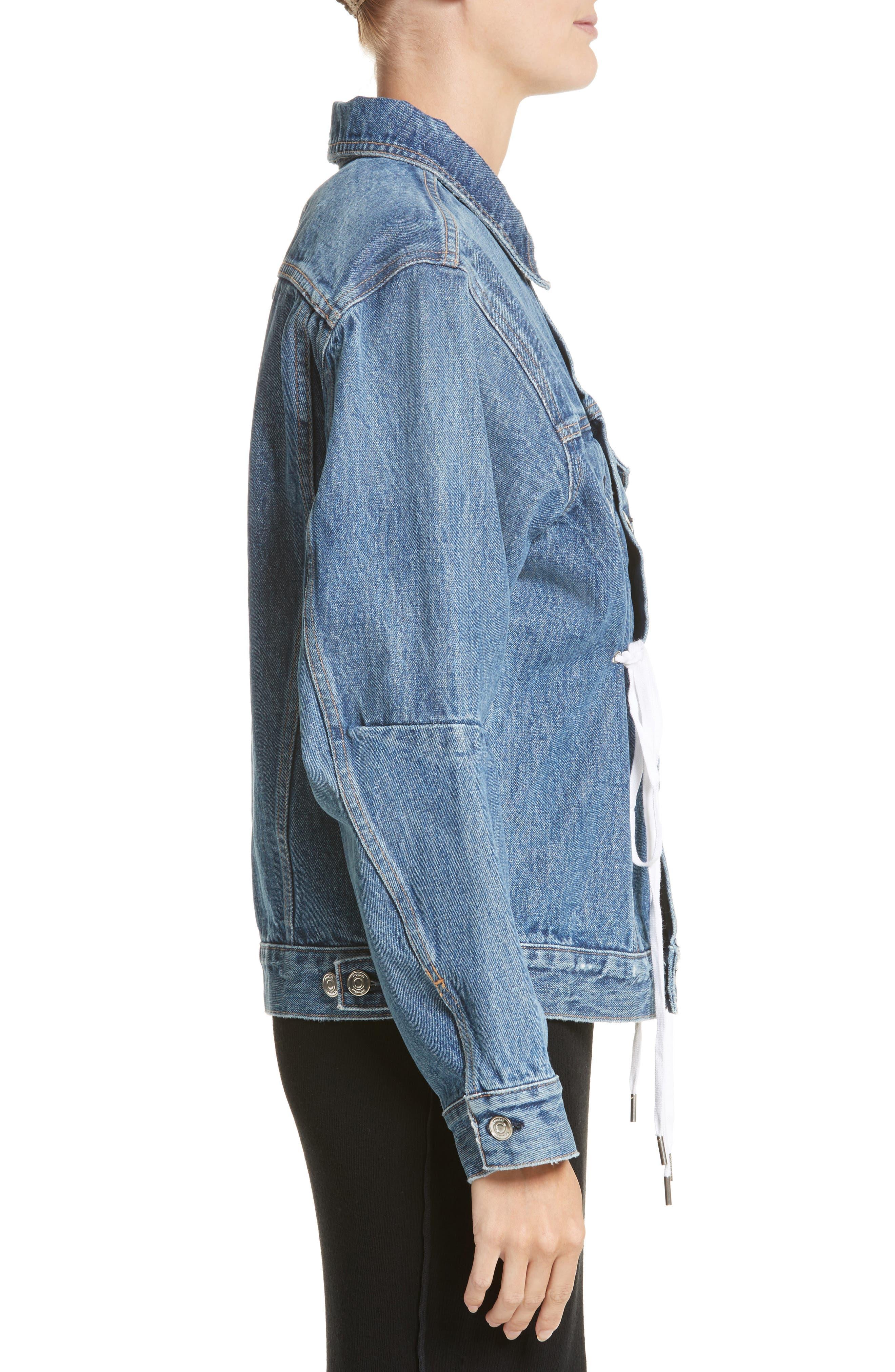 PSWL Drawstring Denim Jacket,                             Alternate thumbnail 4, color,                             MEDIUM BLUE