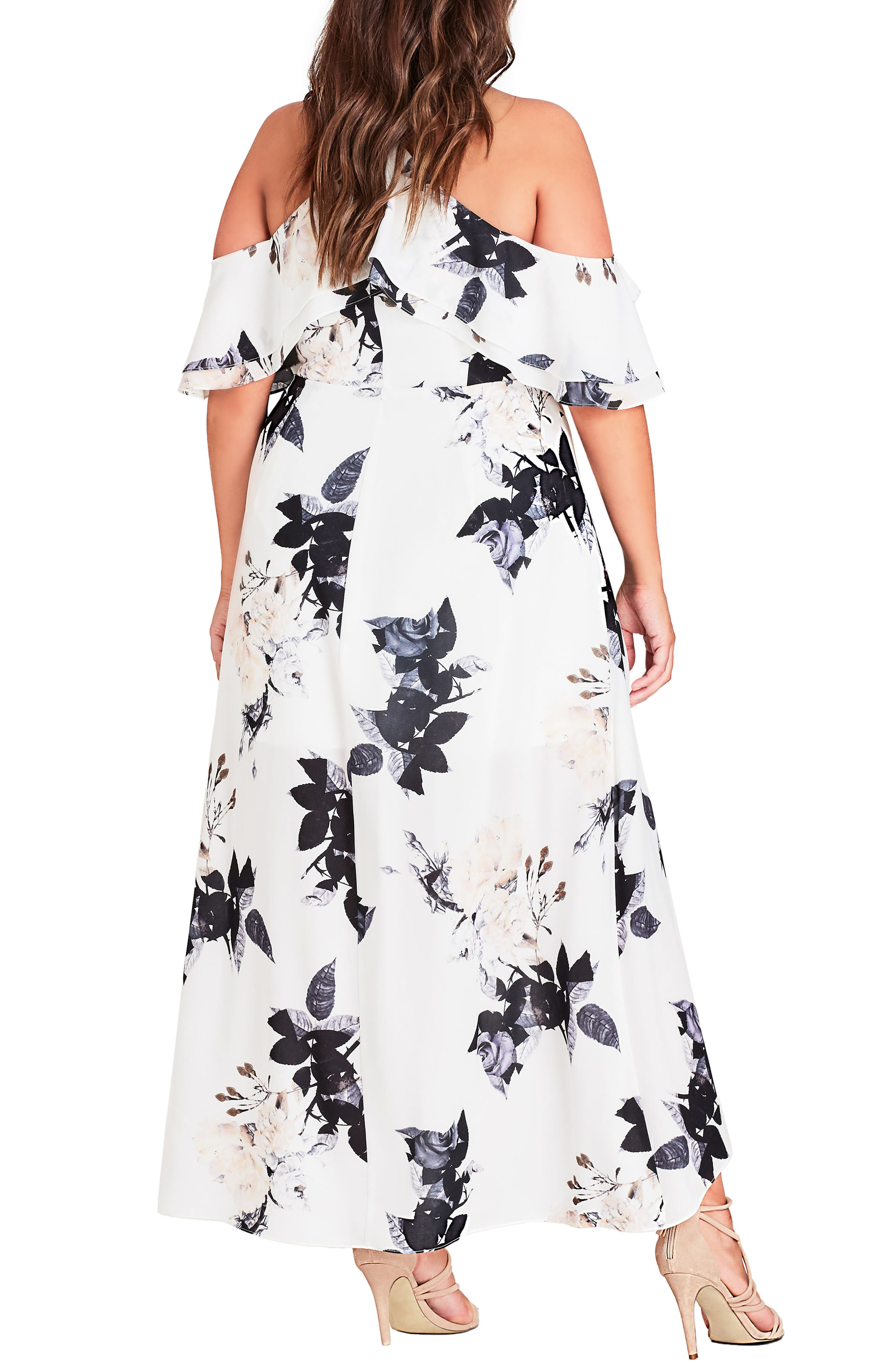 Floral Print Ruffle Maxi Dress,                             Alternate thumbnail 2, color,                             CREAM FLORAL