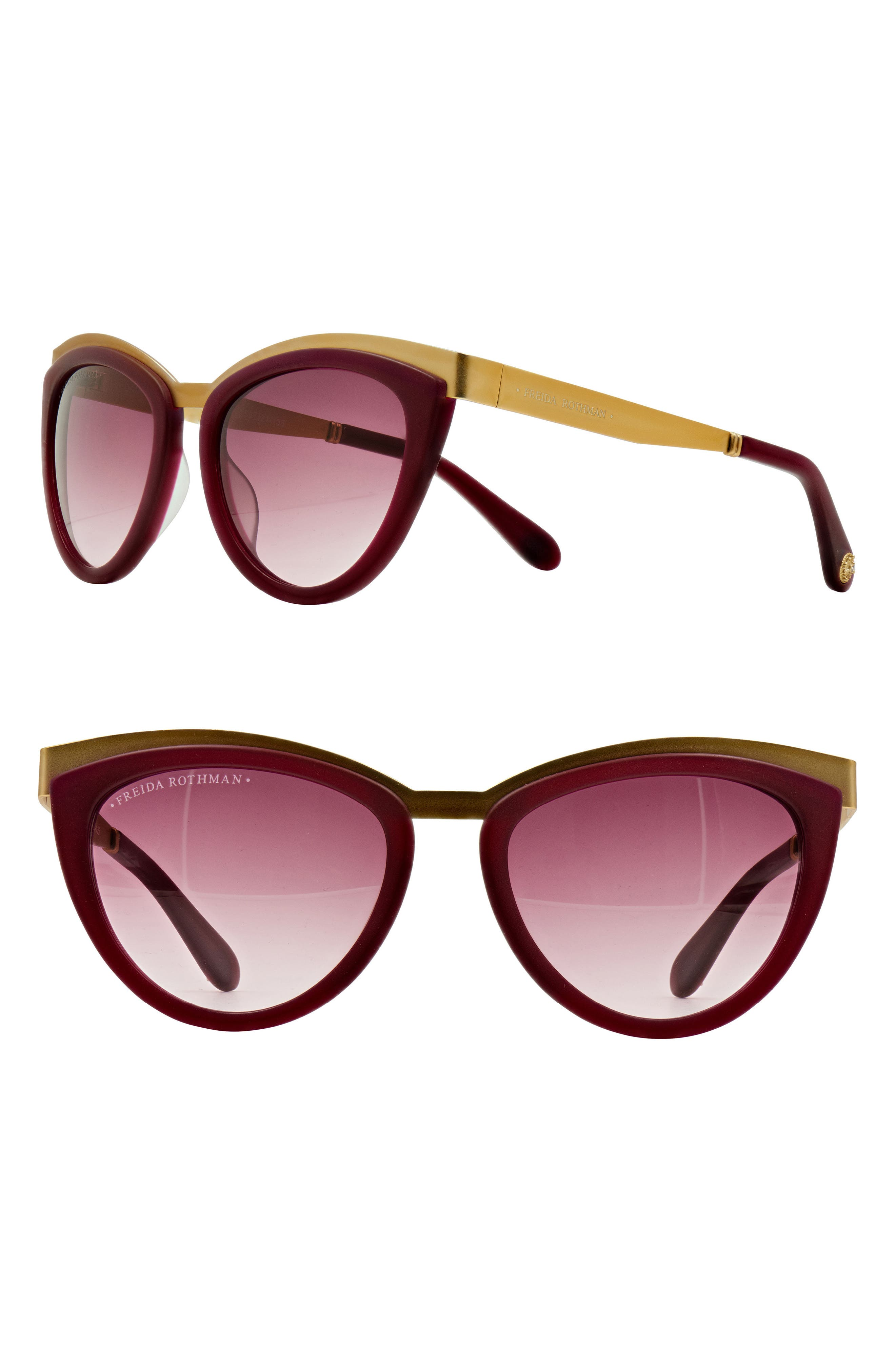 'Daphne' 56mm Cat Eye Sunglasses,                             Main thumbnail 1, color,                             WINE