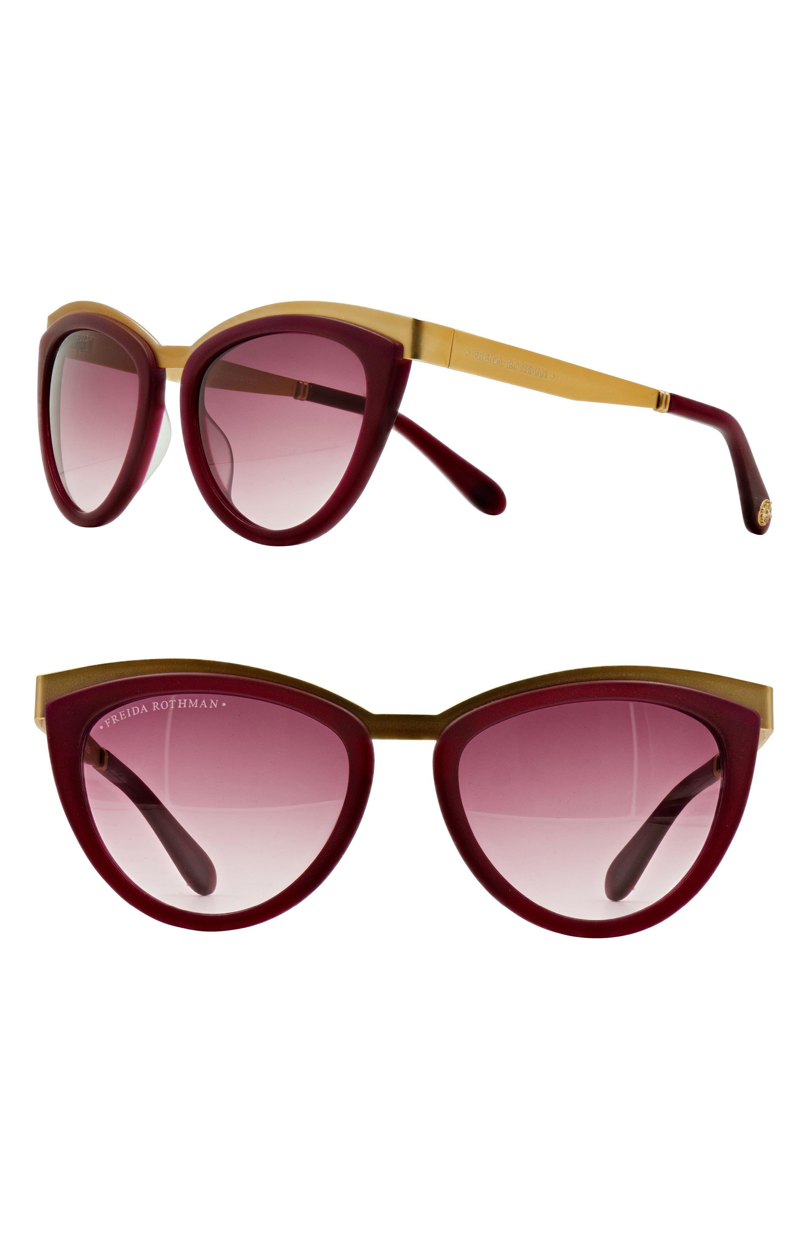 'Daphne' 56mm Cat Eye Sunglasses,                         Main,                         color, WINE