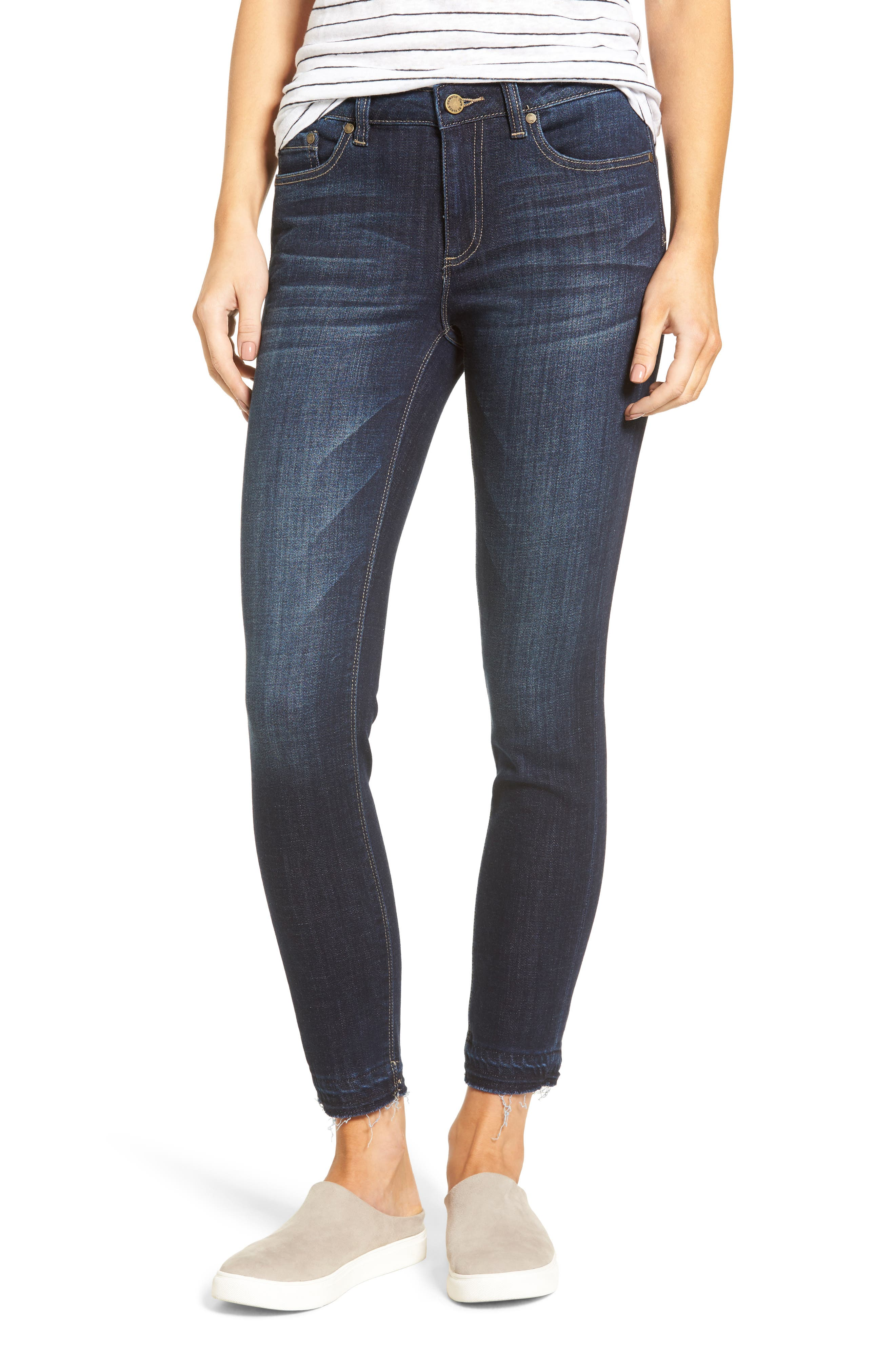 Release Hem Skinny Jeans,                         Main,                         color, DARK AUTHENTIC
