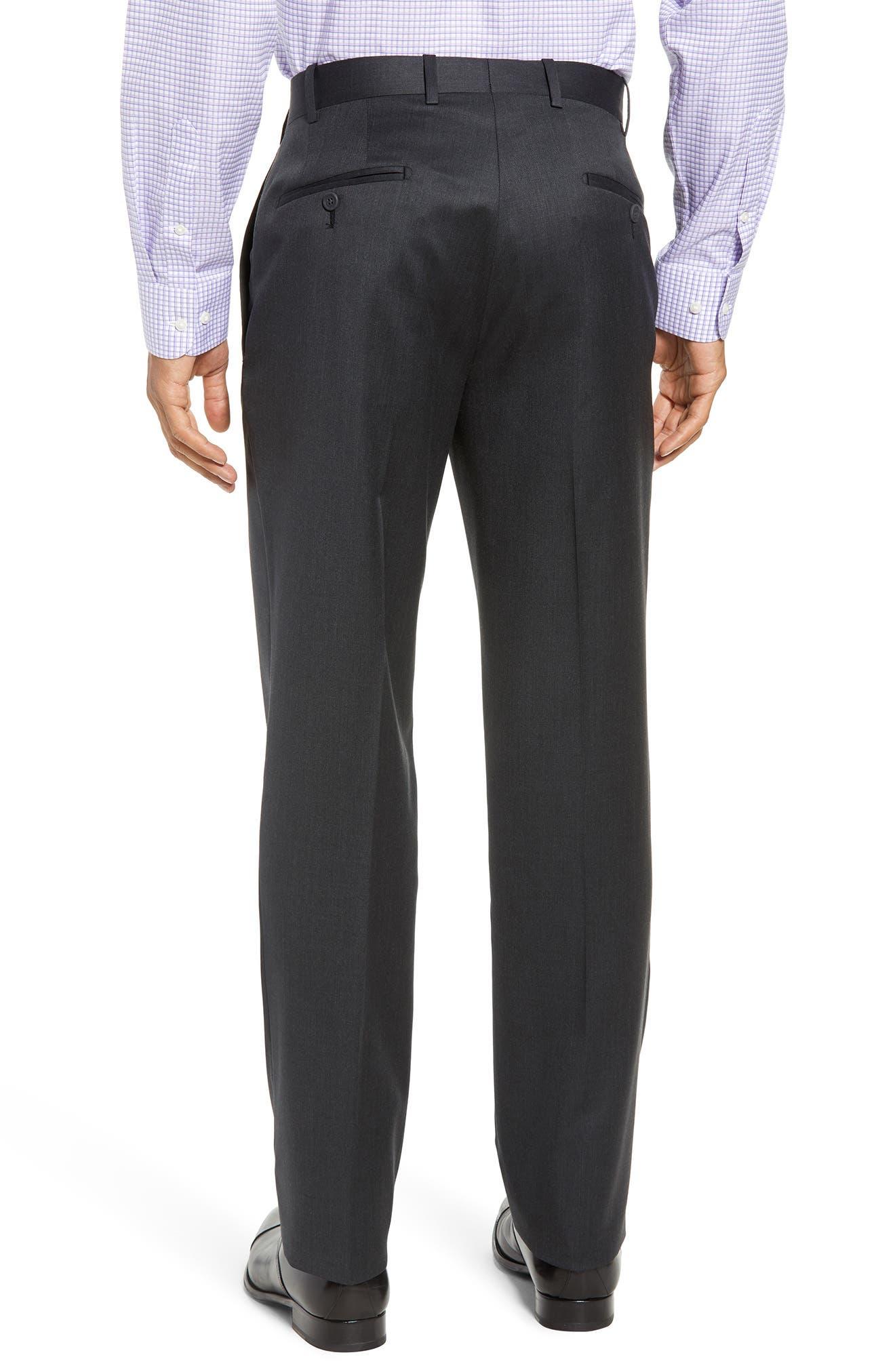 Torino Flat Front Wool Gabardine Trousers,                             Alternate thumbnail 8, color,
