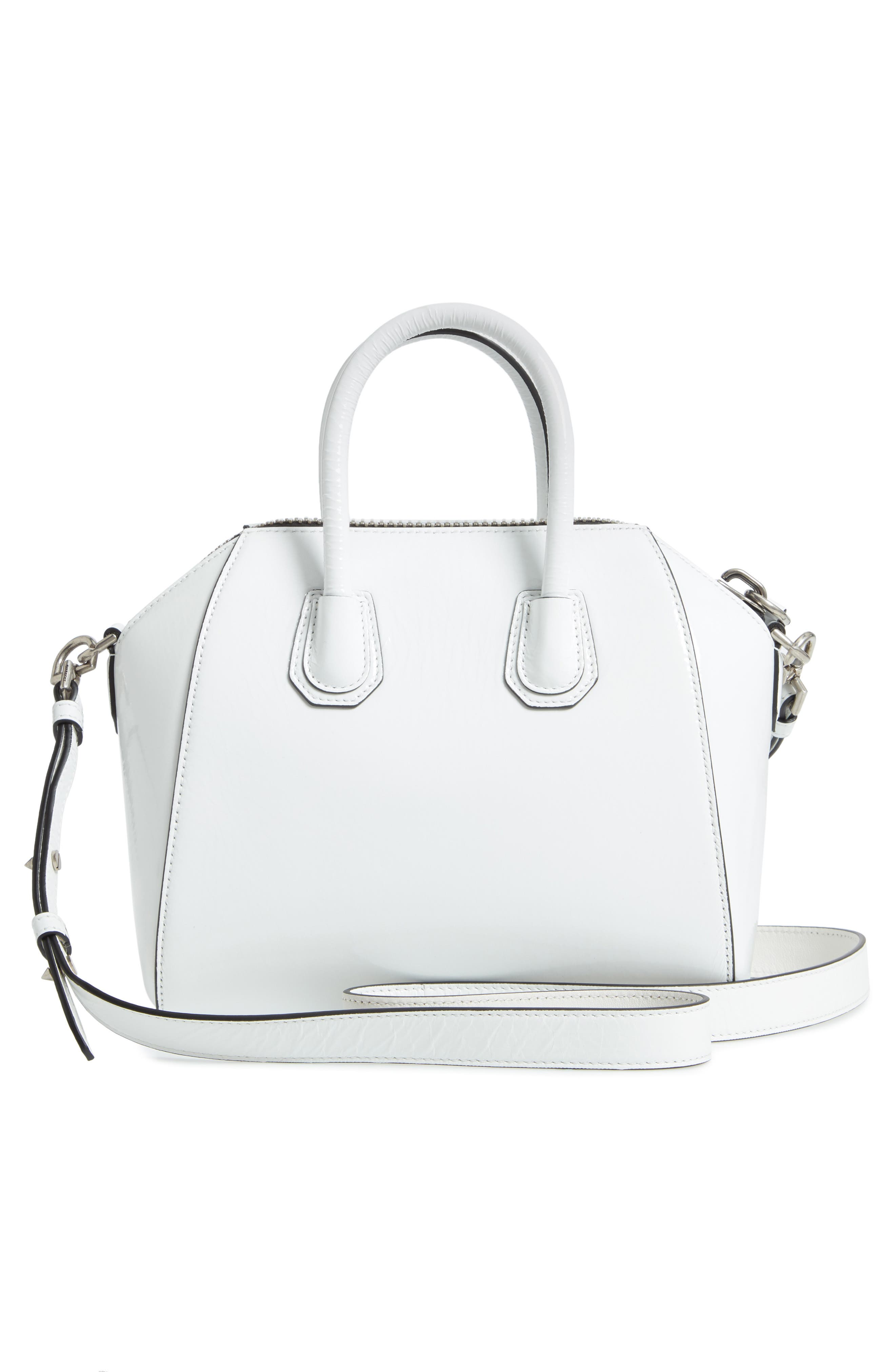 Mini Antigona Patent Leather Satchel,                             Alternate thumbnail 3, color,                             WHITE