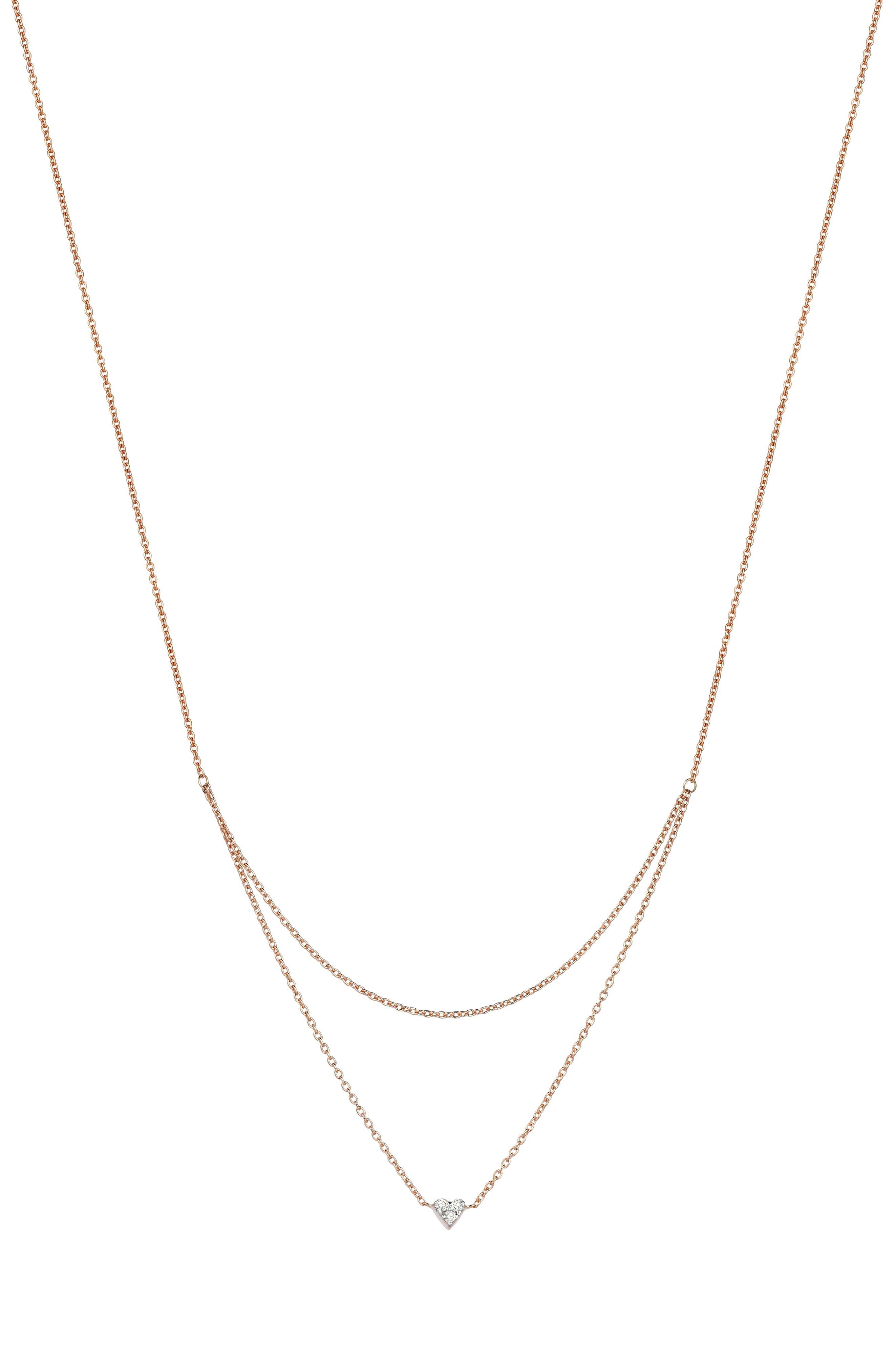 Double Layer Diamond Pendant Necklace,                         Main,                         color, ROSE GOLD