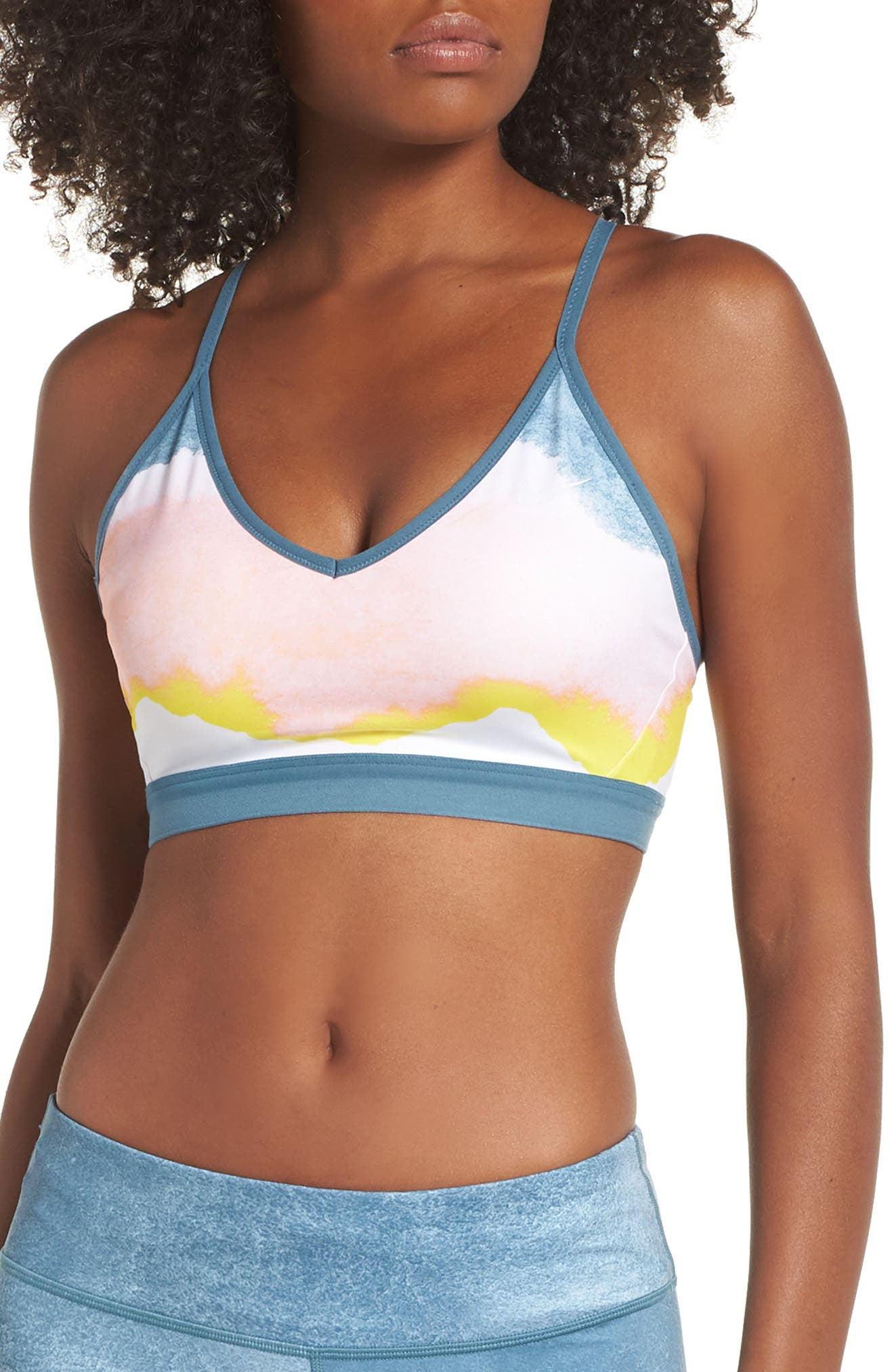 Indy Artist Sports Bra,                         Main,                         color, WHITE/ CELESTIAL TEAL/ WHITE