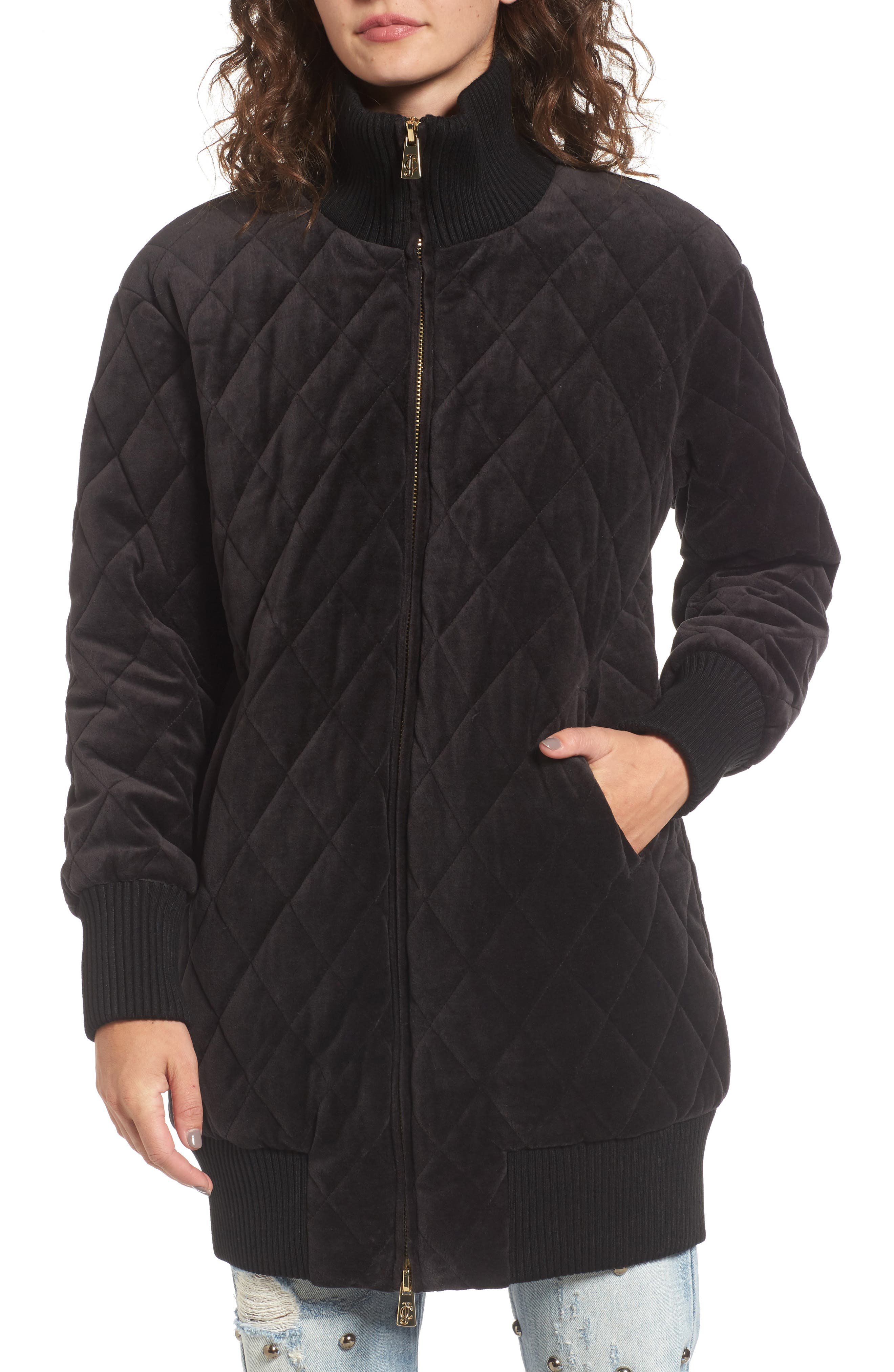 Velour Quilted Puffer Coat,                             Alternate thumbnail 4, color,