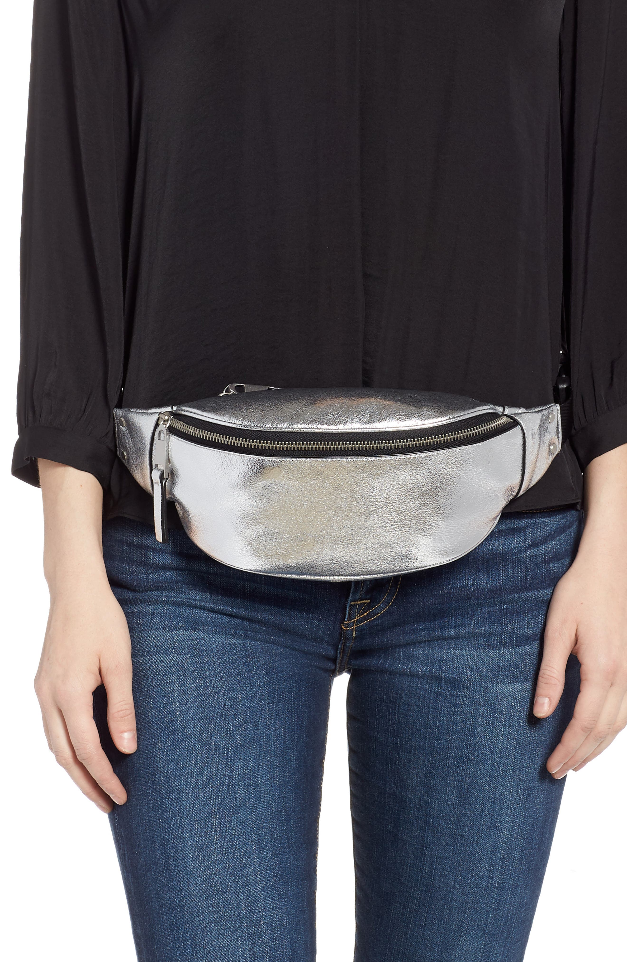 TREASURE & BOND,                             Mason Metallic Leather Belt Bag,                             Alternate thumbnail 2, color,                             SILVER