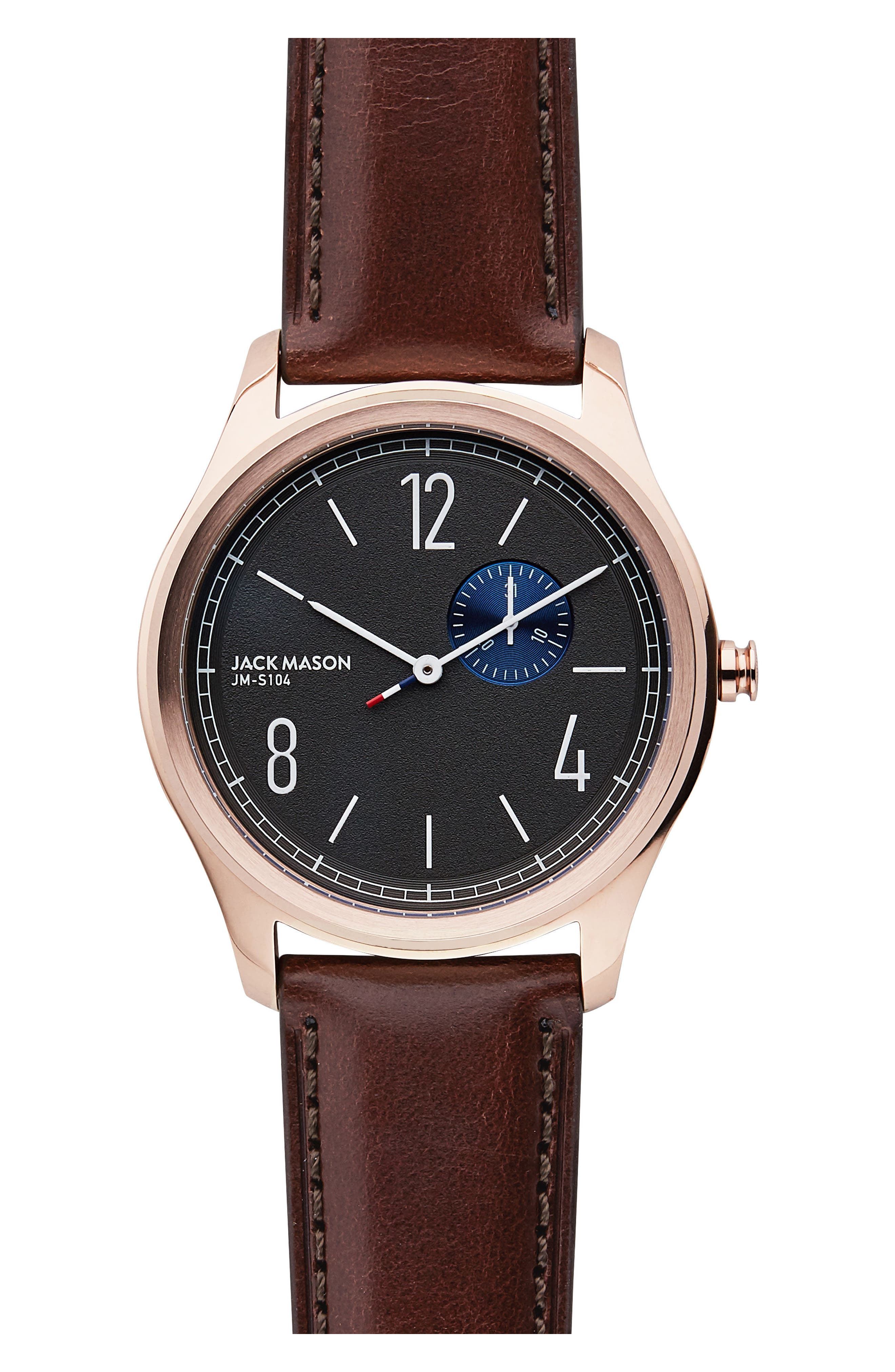 Slim Leather Strap Watch, 42mm,                         Main,                         color, 202