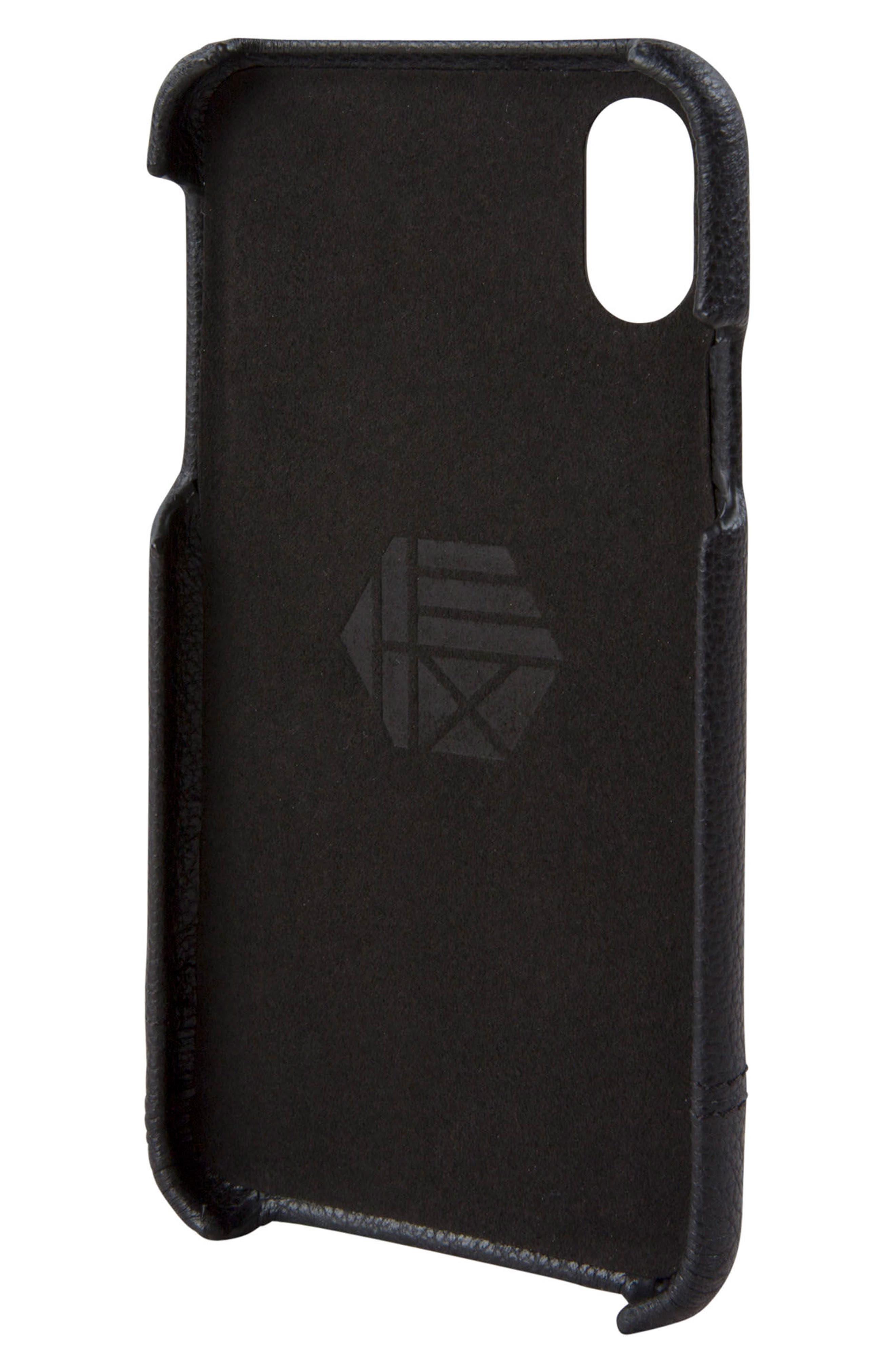 Focus Leather iPhone X Case,                             Alternate thumbnail 3, color,                             001
