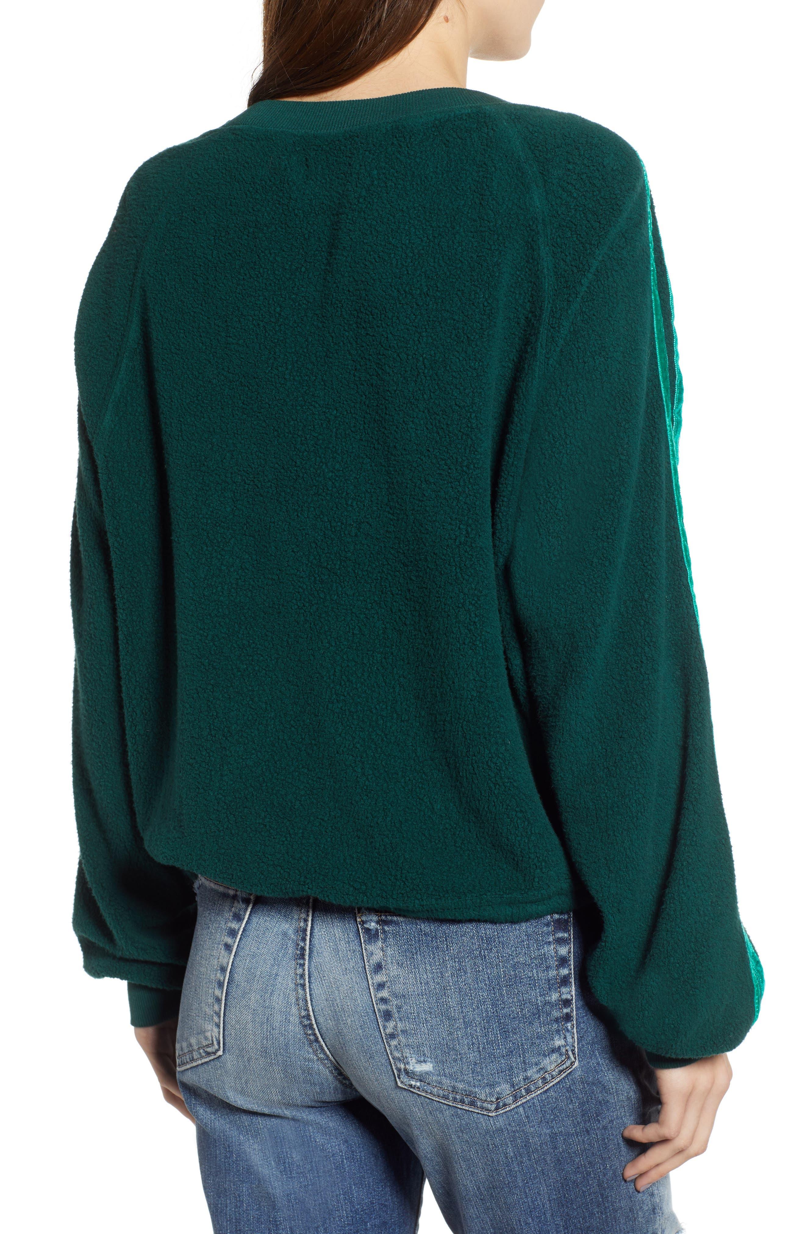 Velvet Stripe Crop Fleece Sweatshirt,                             Alternate thumbnail 2, color,                             BOTANICAL GREEN