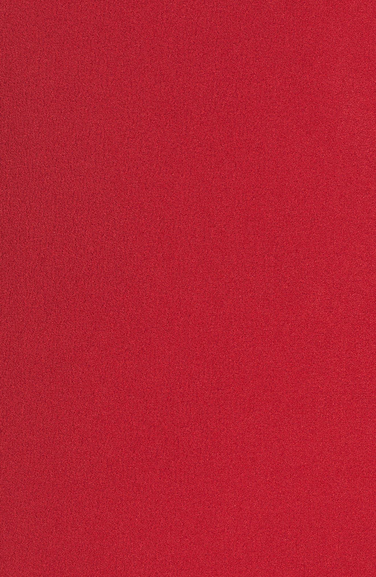 Asymmetrical Neck Fit & Flare Dress,                             Alternate thumbnail 6, color,                             GARNET