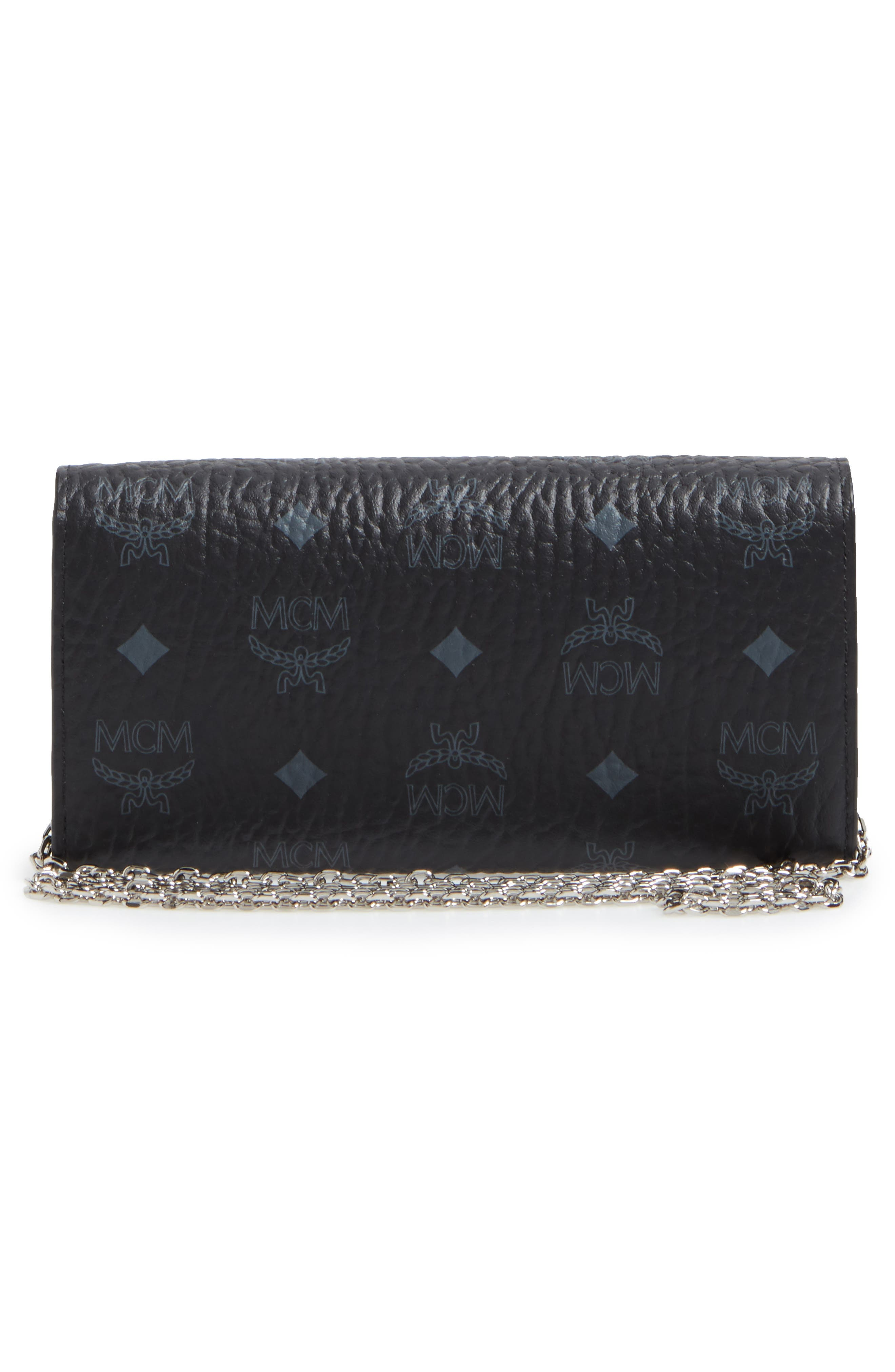 Large Patricia Visetos Canvas Wallet on a Chain,                             Alternate thumbnail 4, color,                             001