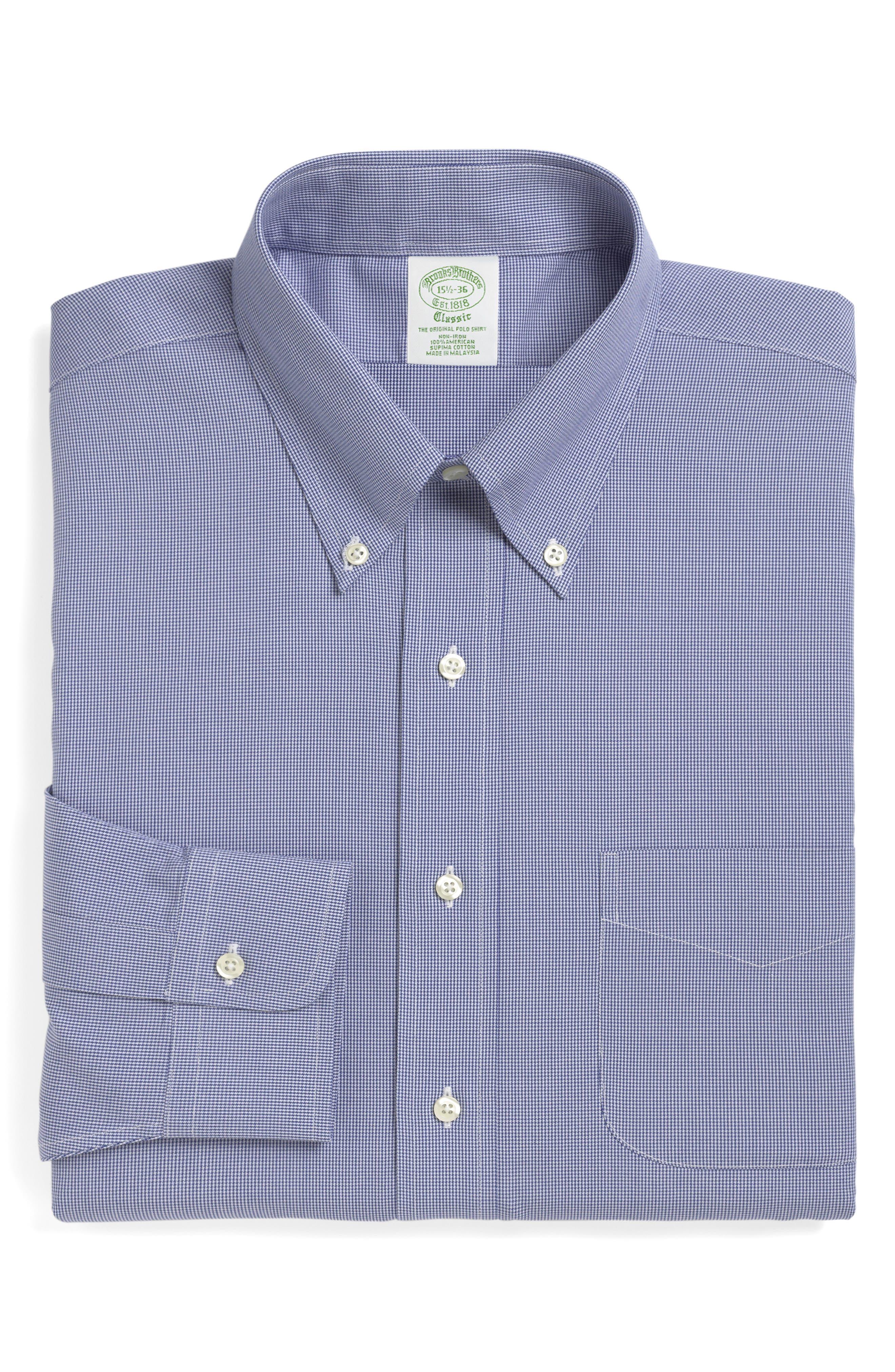 Trim Fit Houndstooth Dress Shirt,                             Main thumbnail 1, color,                             BLUE