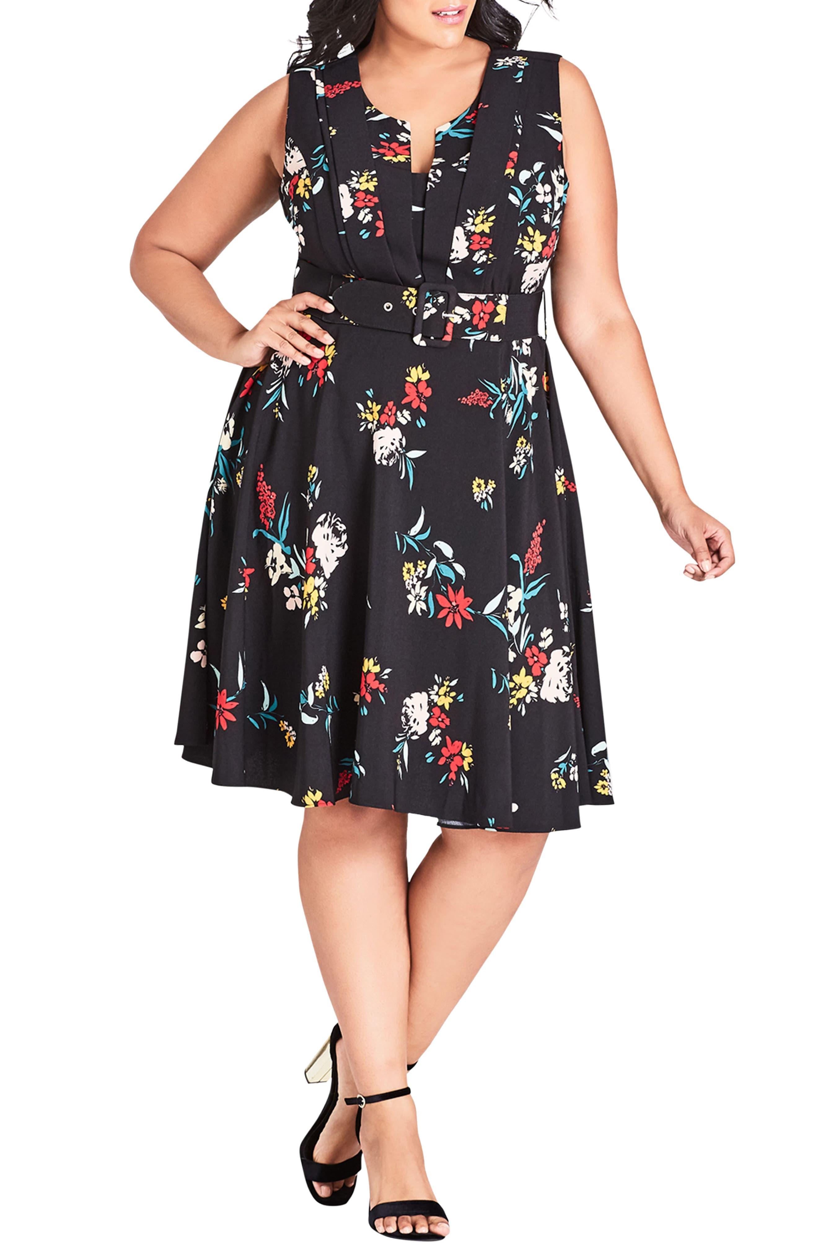 Plus Size City Chic Flowerette Fit & Flare Dress, Black