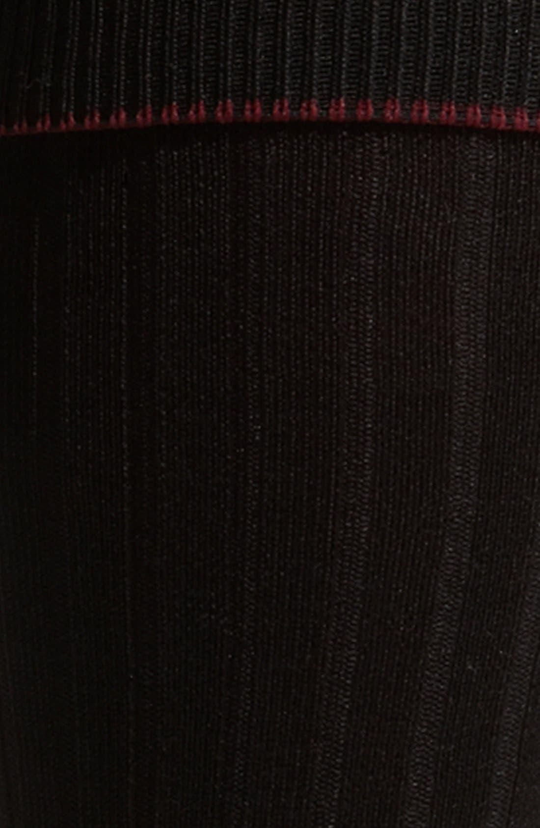 Over the Calf Cotton Blend Socks,                             Alternate thumbnail 4, color,                             BLACK