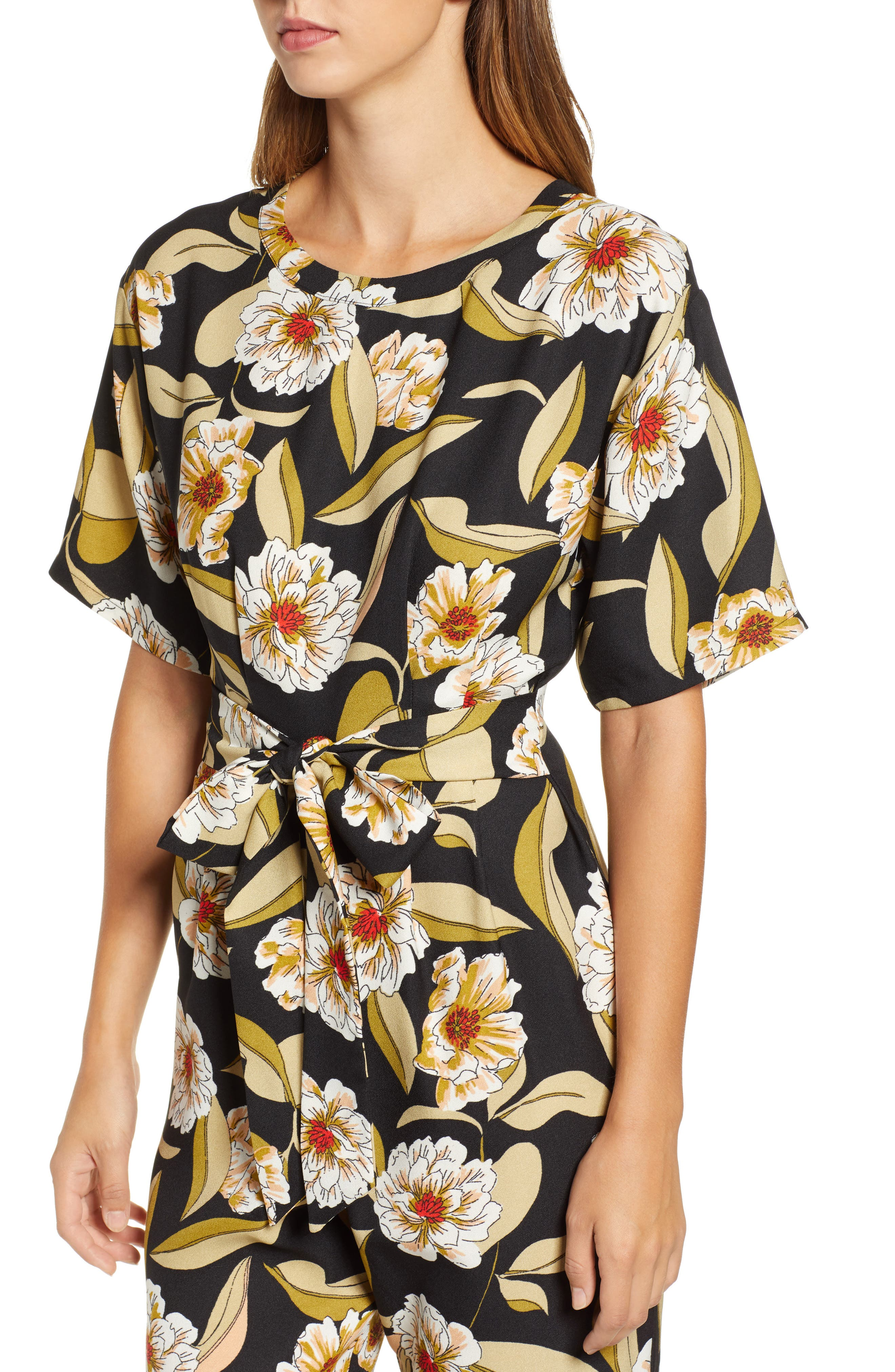 LEITH,                             Belted Floral Jumpsuit,                             Alternate thumbnail 4, color,                             001
