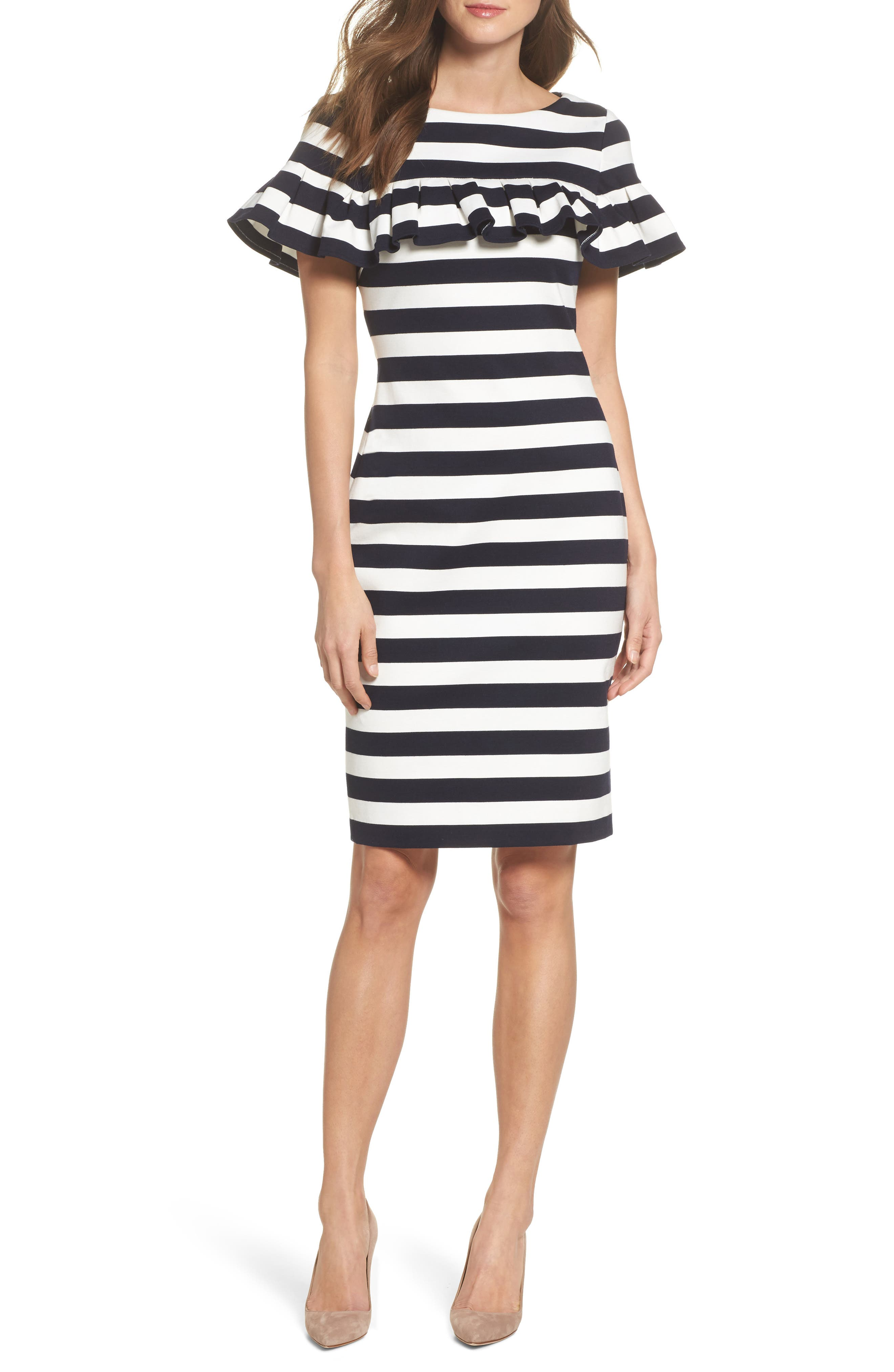 Stripe Ruffle Sheath Dress,                             Main thumbnail 1, color,                             407