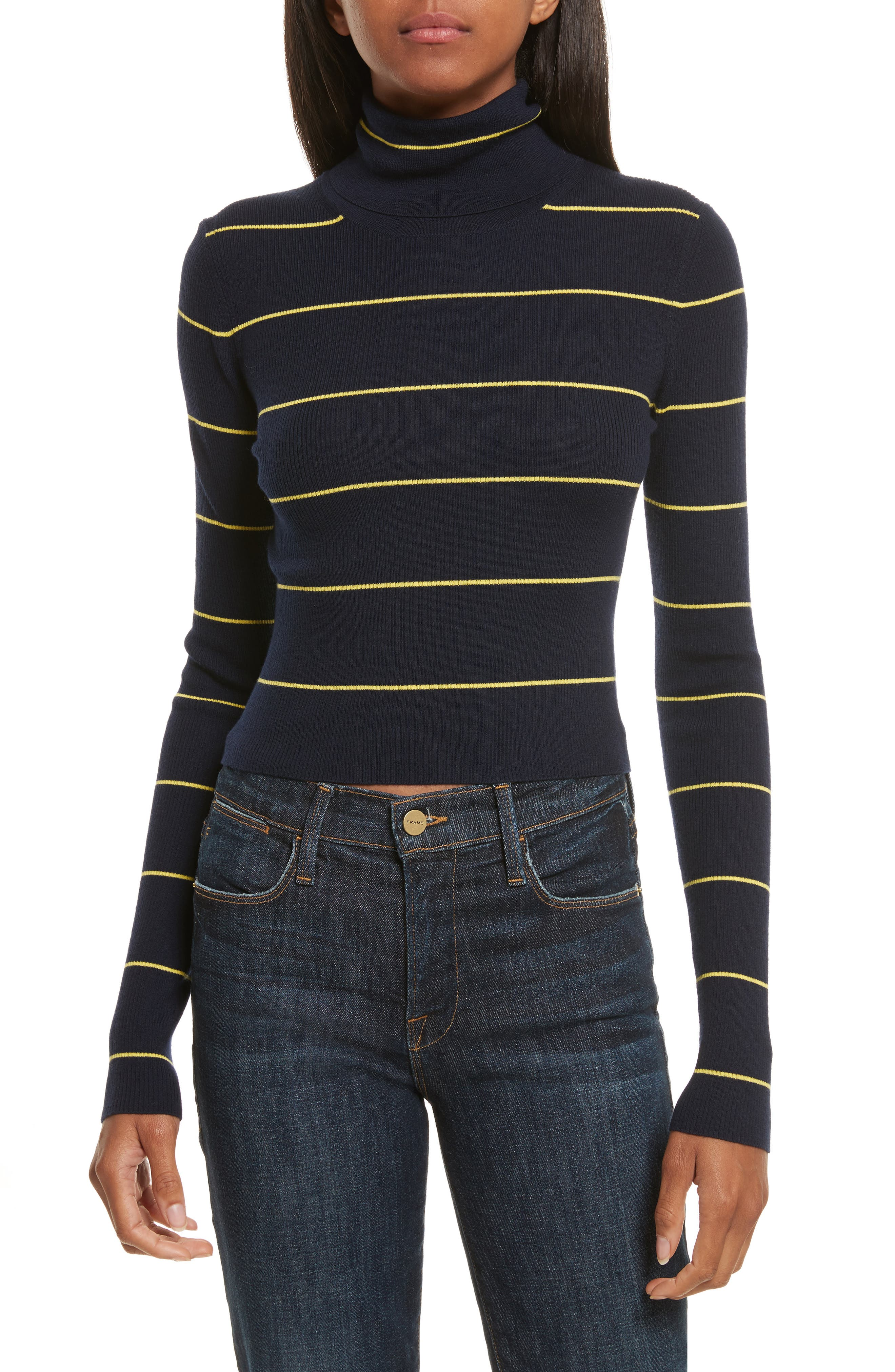 Stripe Crop Turtleneck,                         Main,                         color,