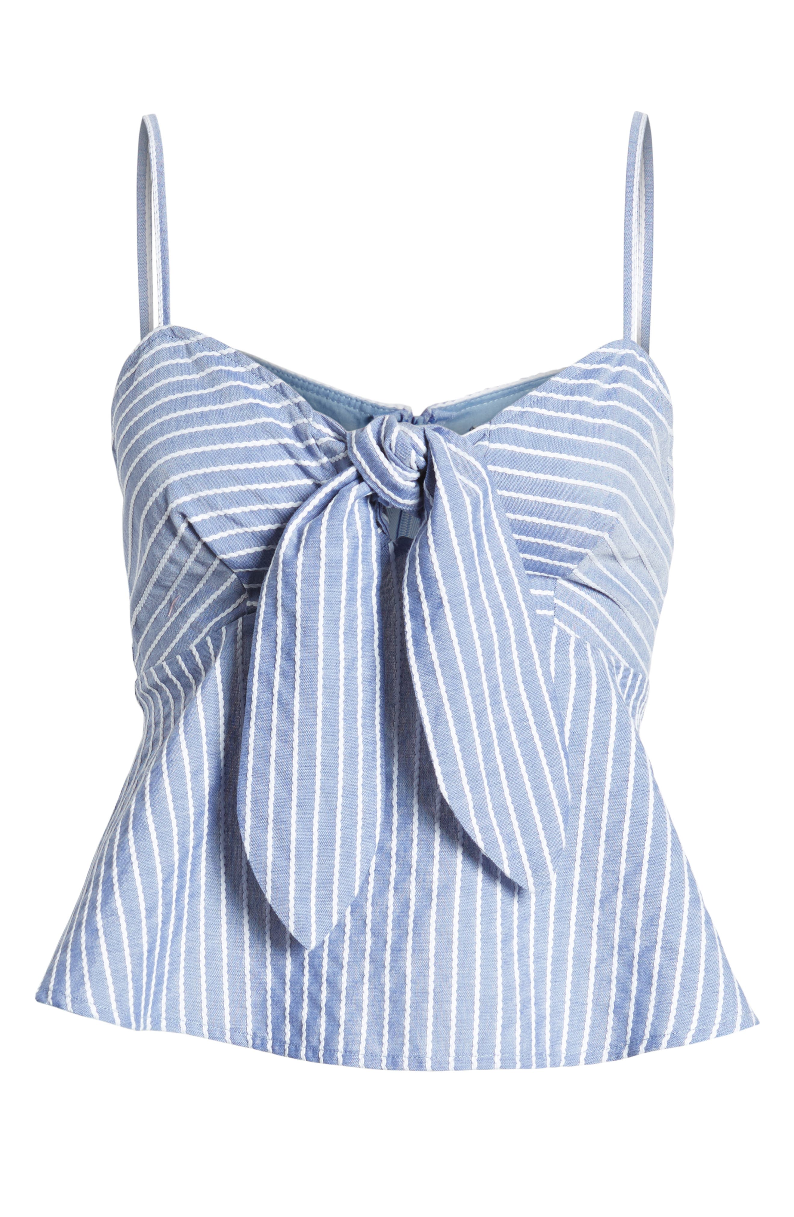 Parcel Stripe Tie Front Tank,                             Alternate thumbnail 6, color,                             BLUE WITH WHITE