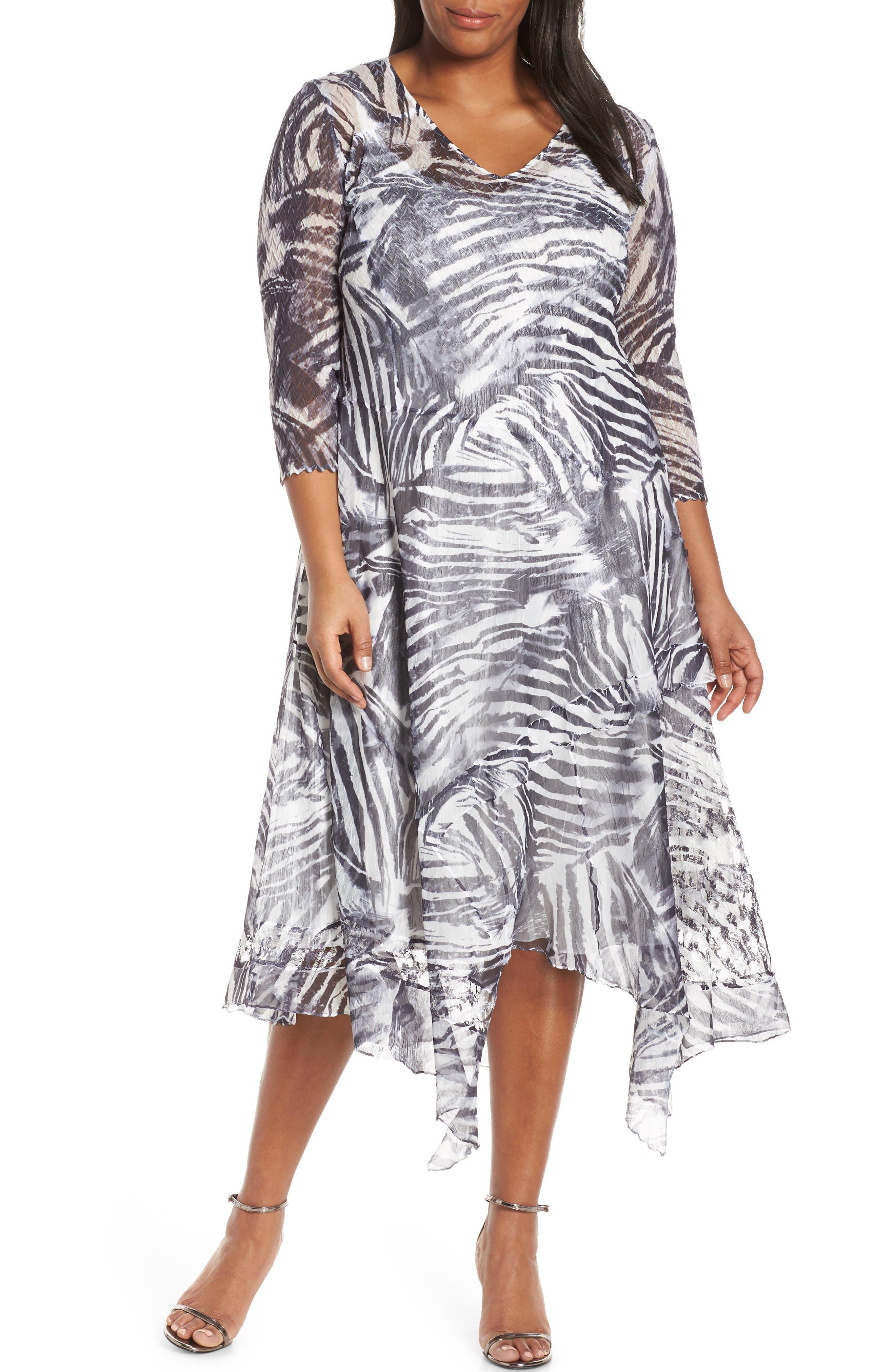 Plus Size Komarov Handkerchief Hem Cocktail Dress, Black