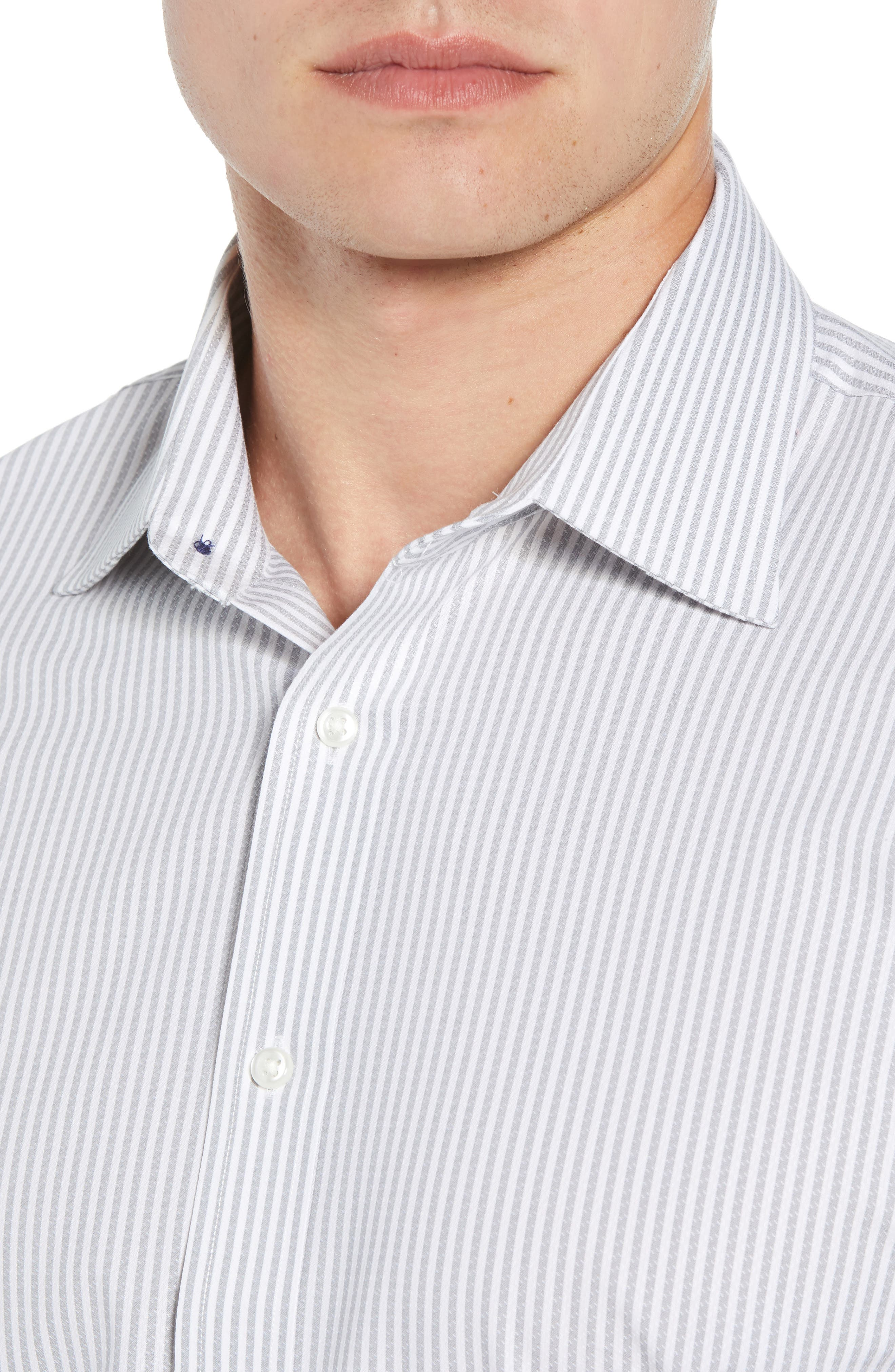 Tech-Smart Traditional Fit Stripe Stretch Dress Shirt,                             Alternate thumbnail 4, color,