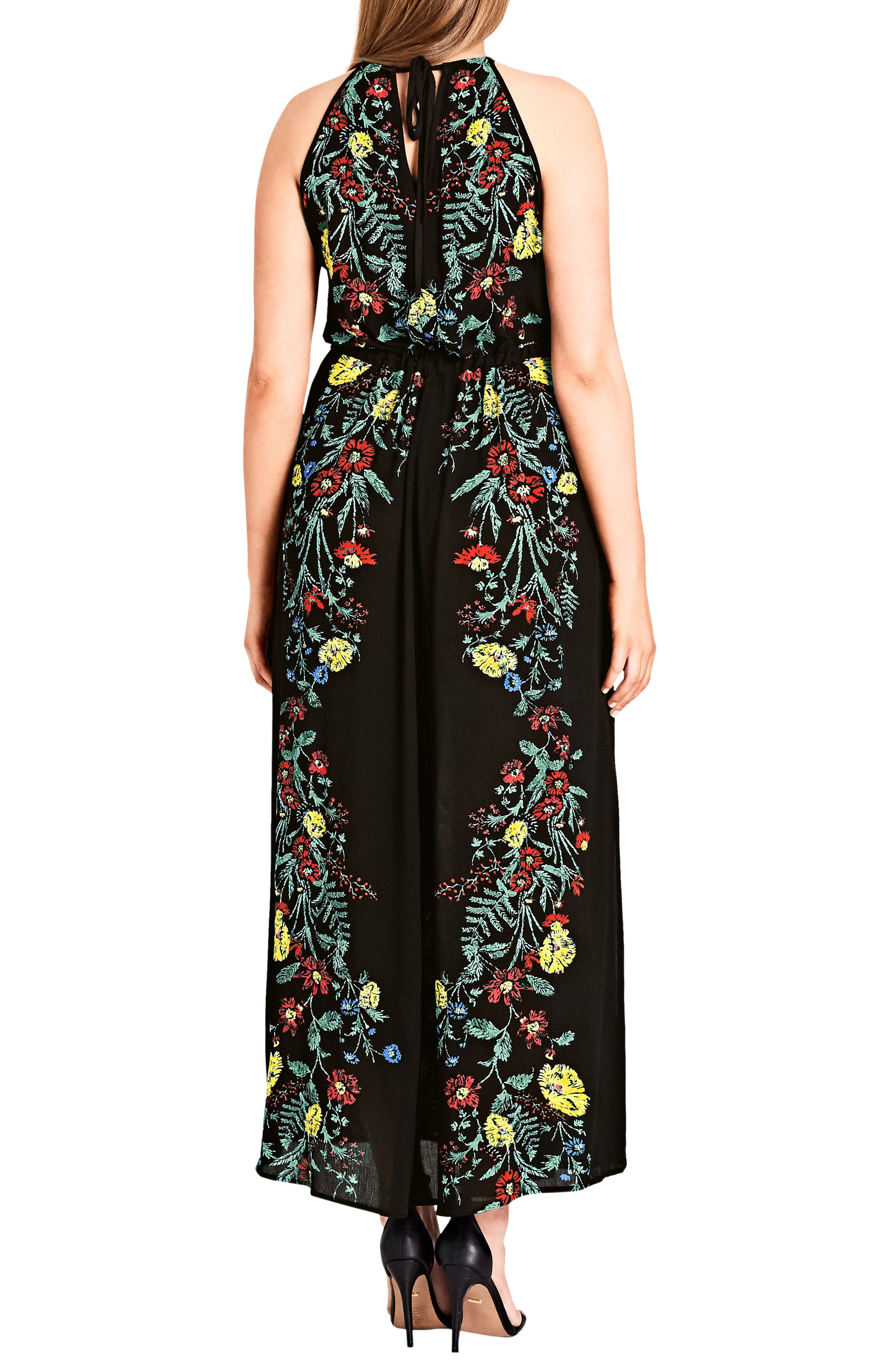 Secret Vine Maxi Dress,                             Alternate thumbnail 2, color,                             BLACK