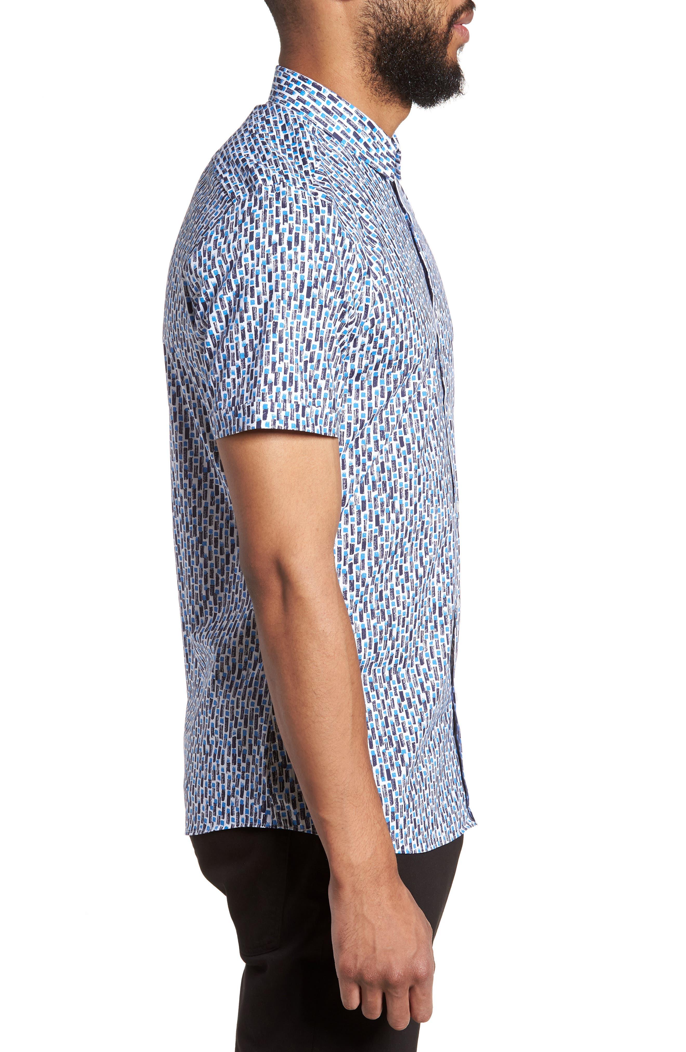 Empson Trim Fit Print Short Sleeve Sport Shirt,                             Alternate thumbnail 6, color,