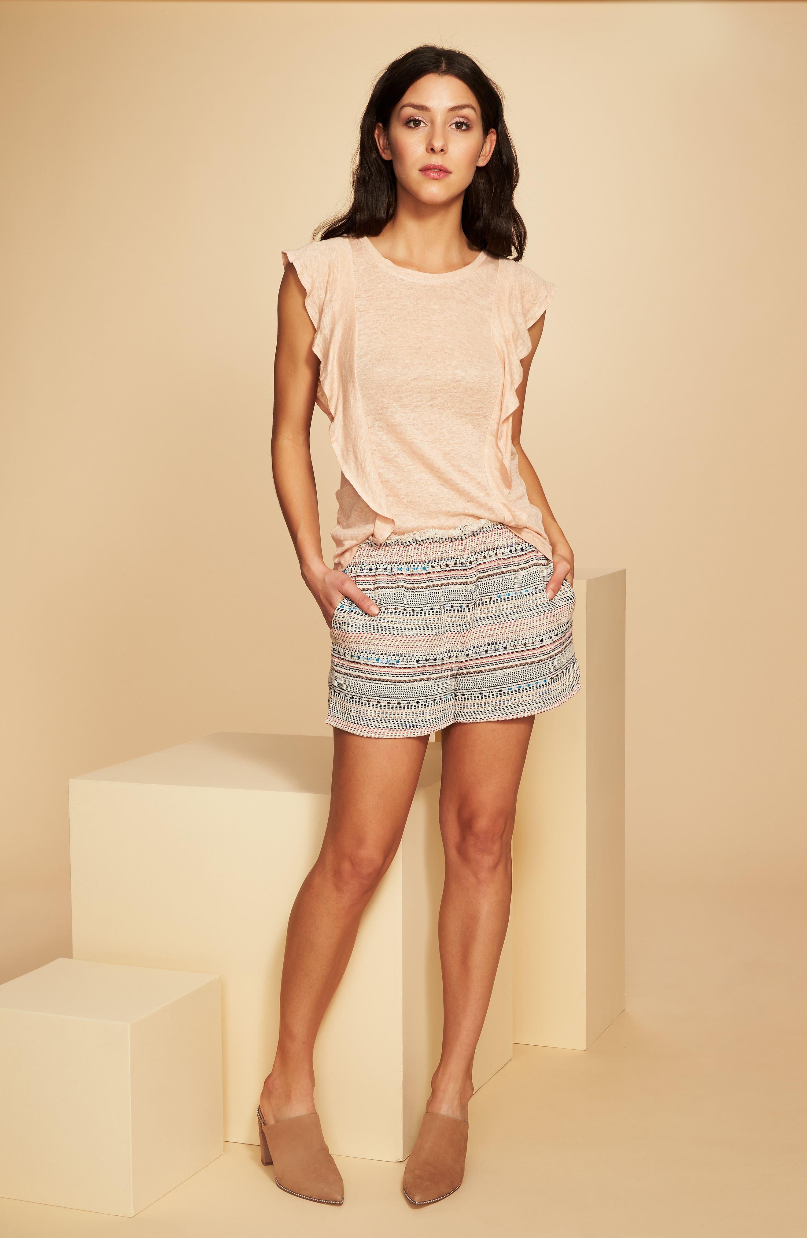 Paperbag Waist Tweed Shorts,                             Alternate thumbnail 4, color,                             908