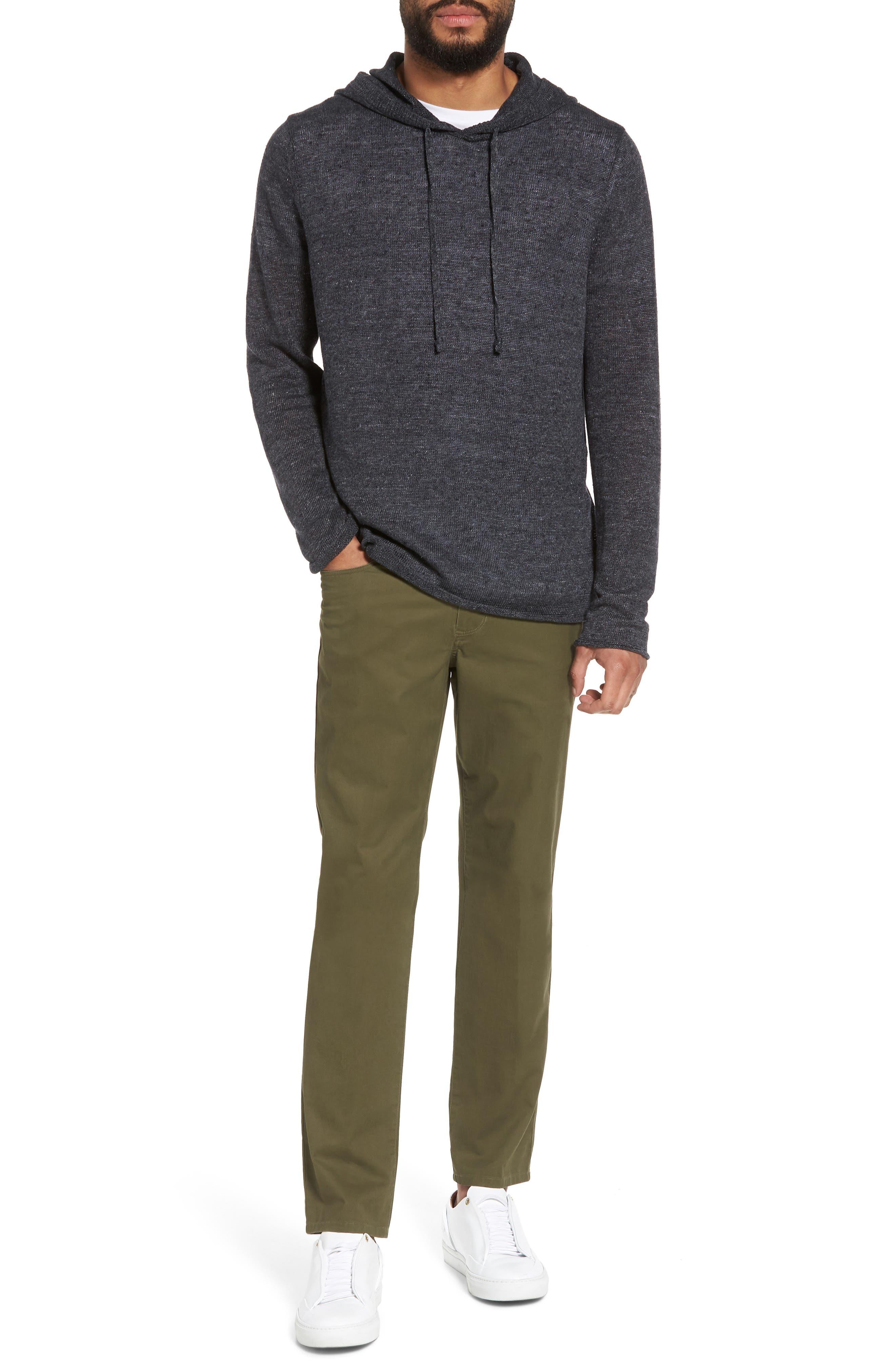Slim Fit Linen Pullover Hoodie,                             Alternate thumbnail 7, color,                             001
