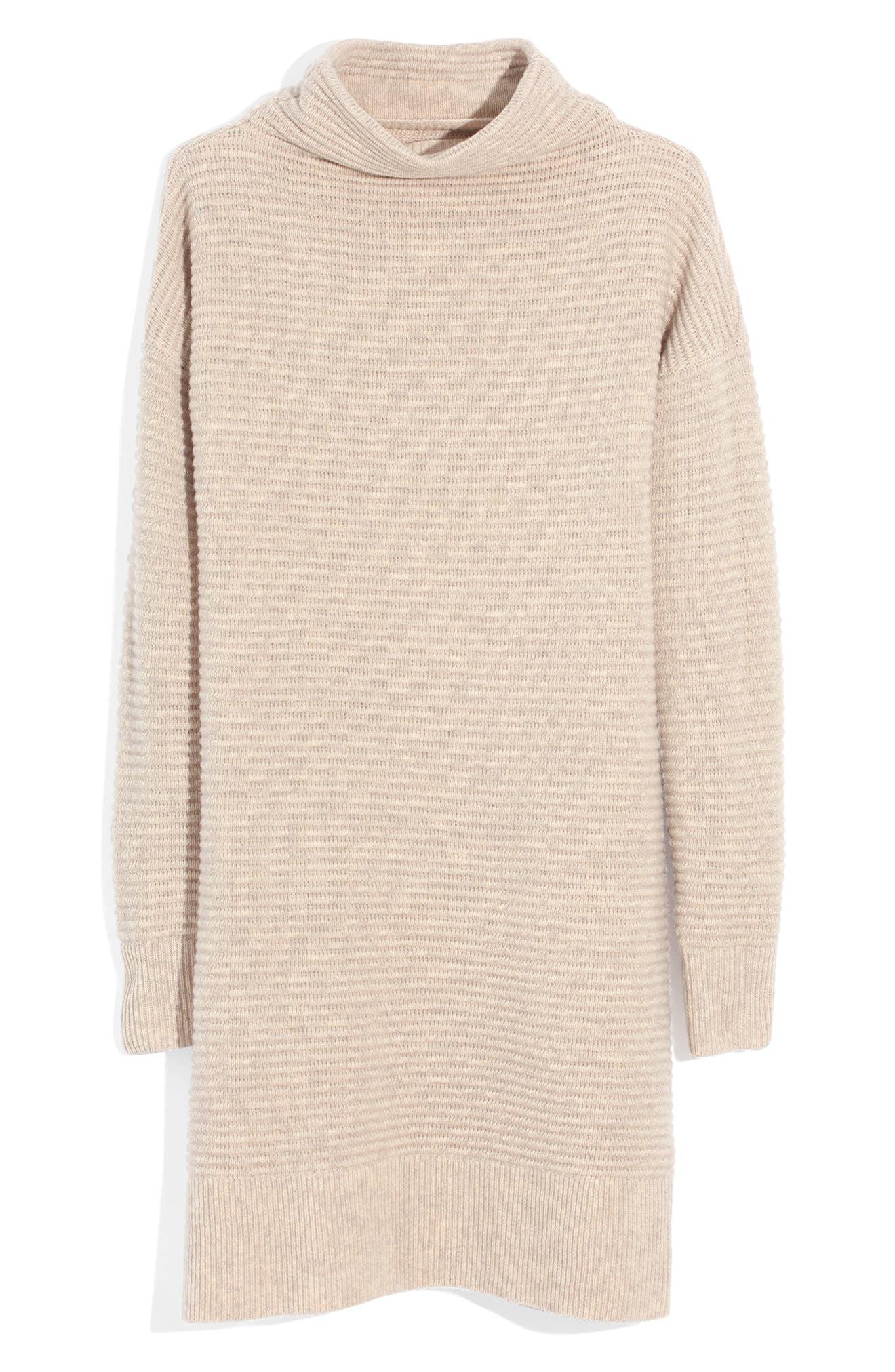 Skyscraper Merino Wool Sweater Dress,                             Alternate thumbnail 4, color,                             HEATHER ALMOND