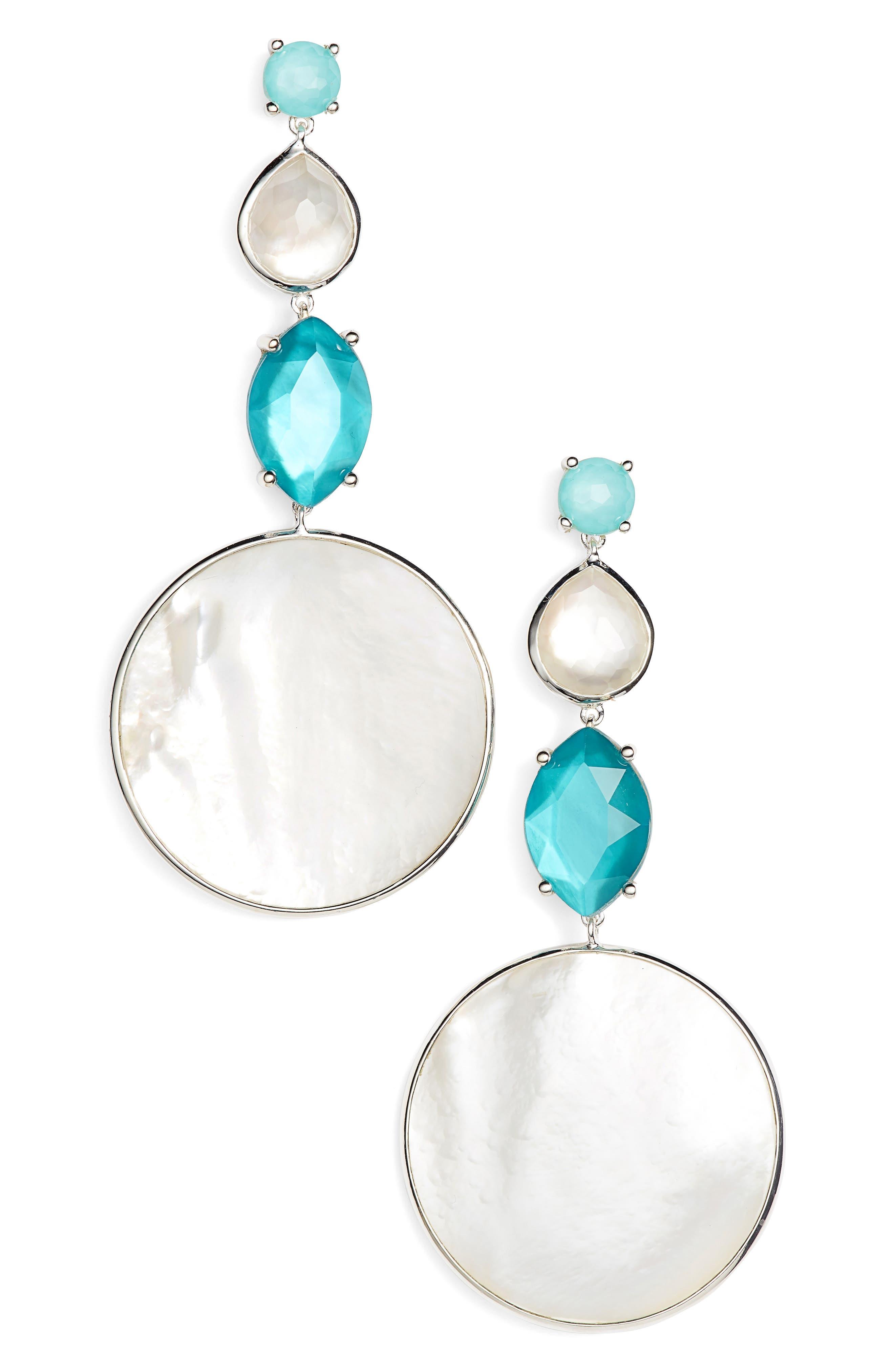 Multi Shape Stone Drop Earrings,                         Main,                         color, BLUE/ MOP
