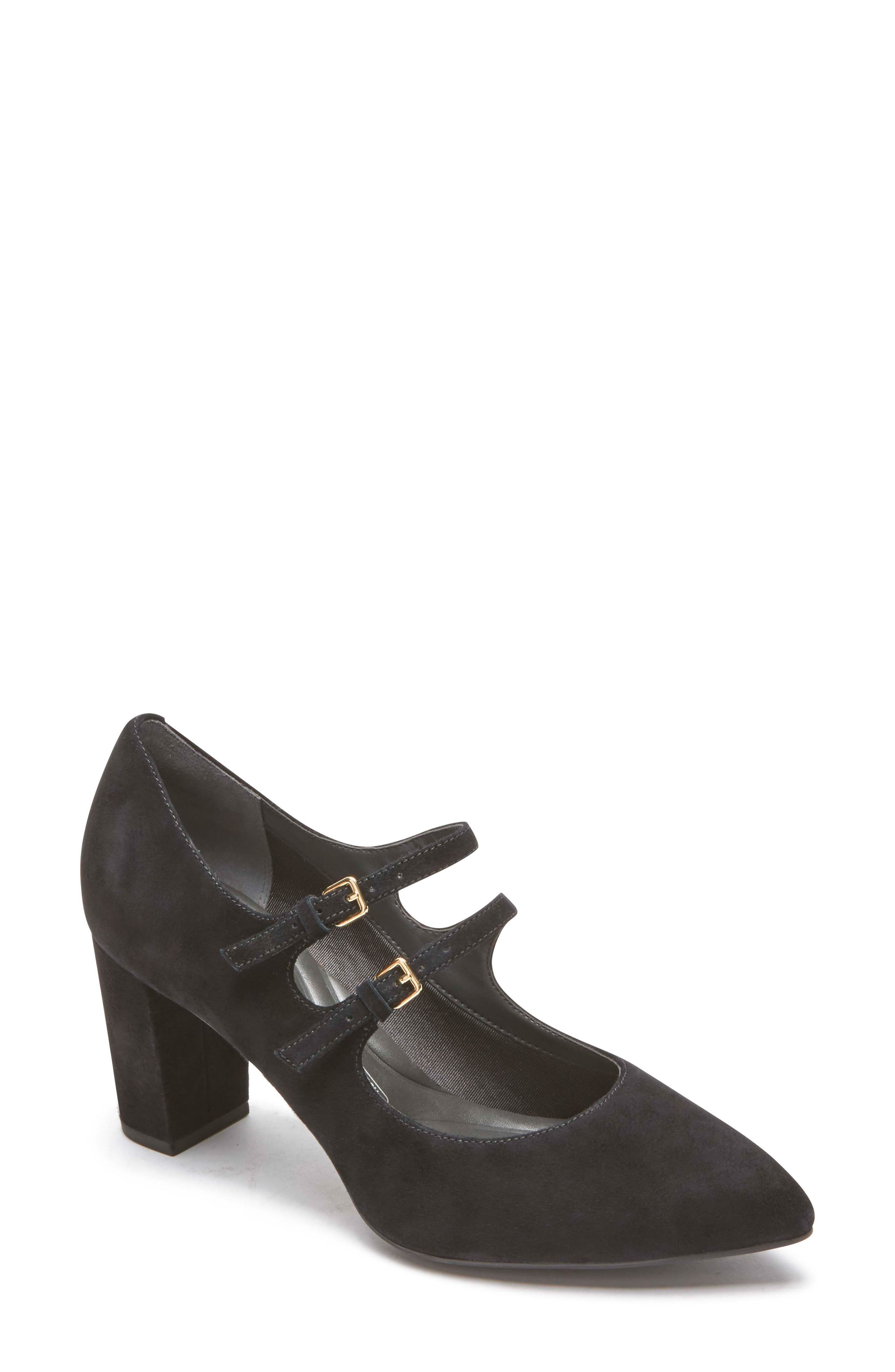 Violina Luxe Double Strap Mary Jane Pump,                             Main thumbnail 1, color,                             BLACK SUEDE