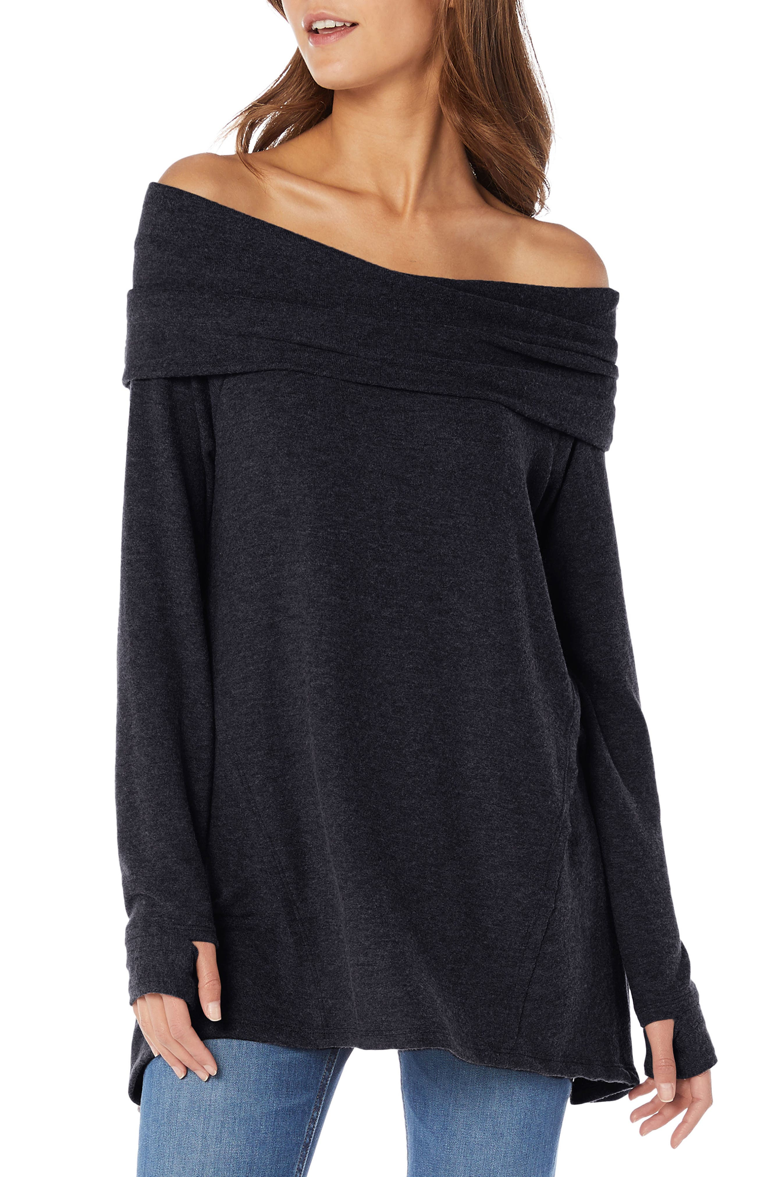 Madison Brushed Convertible Swing Tunic Top,                         Main,                         color, BLACK