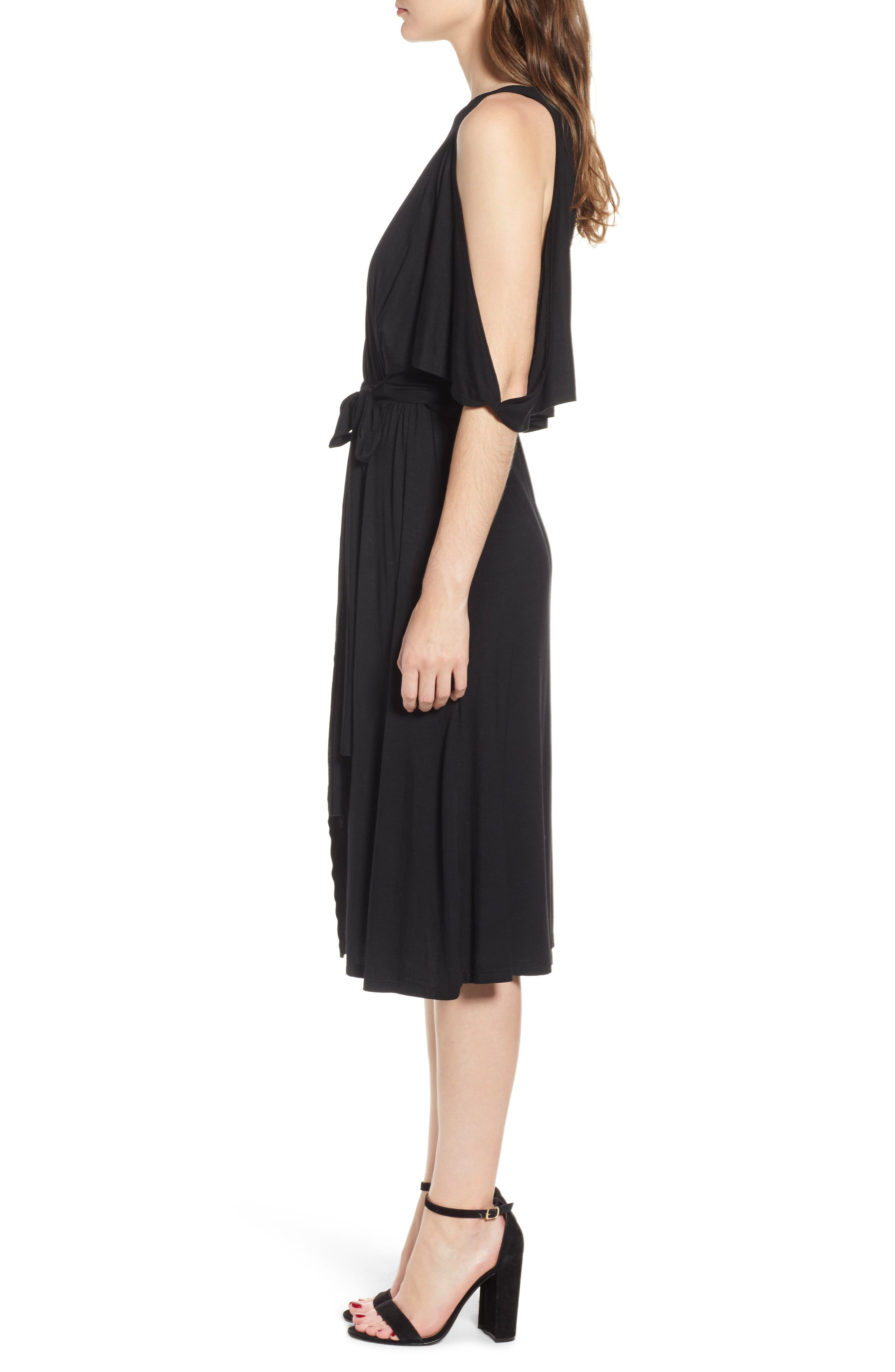 Bishop + Young Slit Sleeve Wrap Style Dress,                             Alternate thumbnail 3, color,                             001