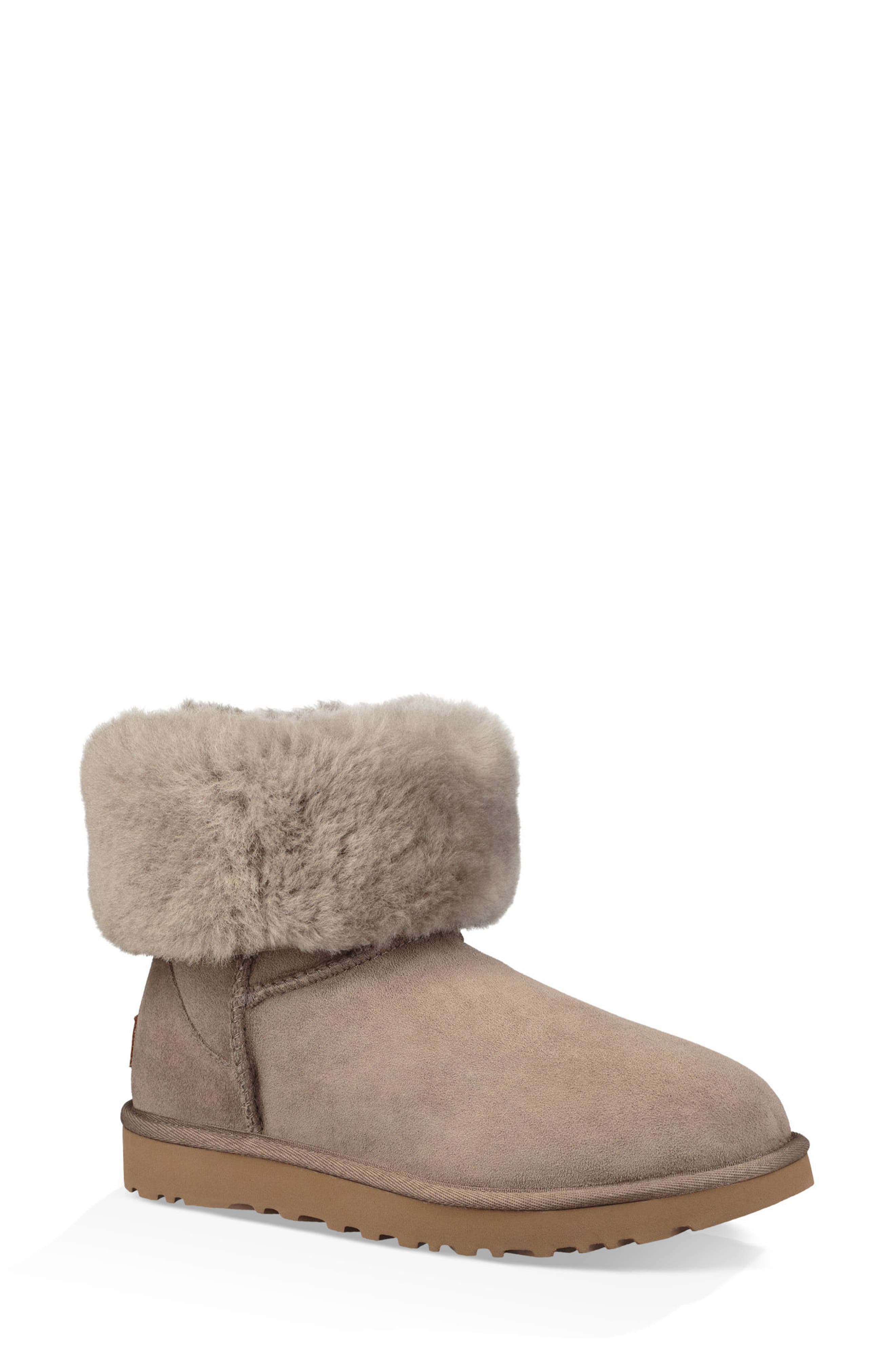 'Classic II' Genuine Shearling Lined Short Boot,                             Alternate thumbnail 2, color,                             BRINDLE SUEDE