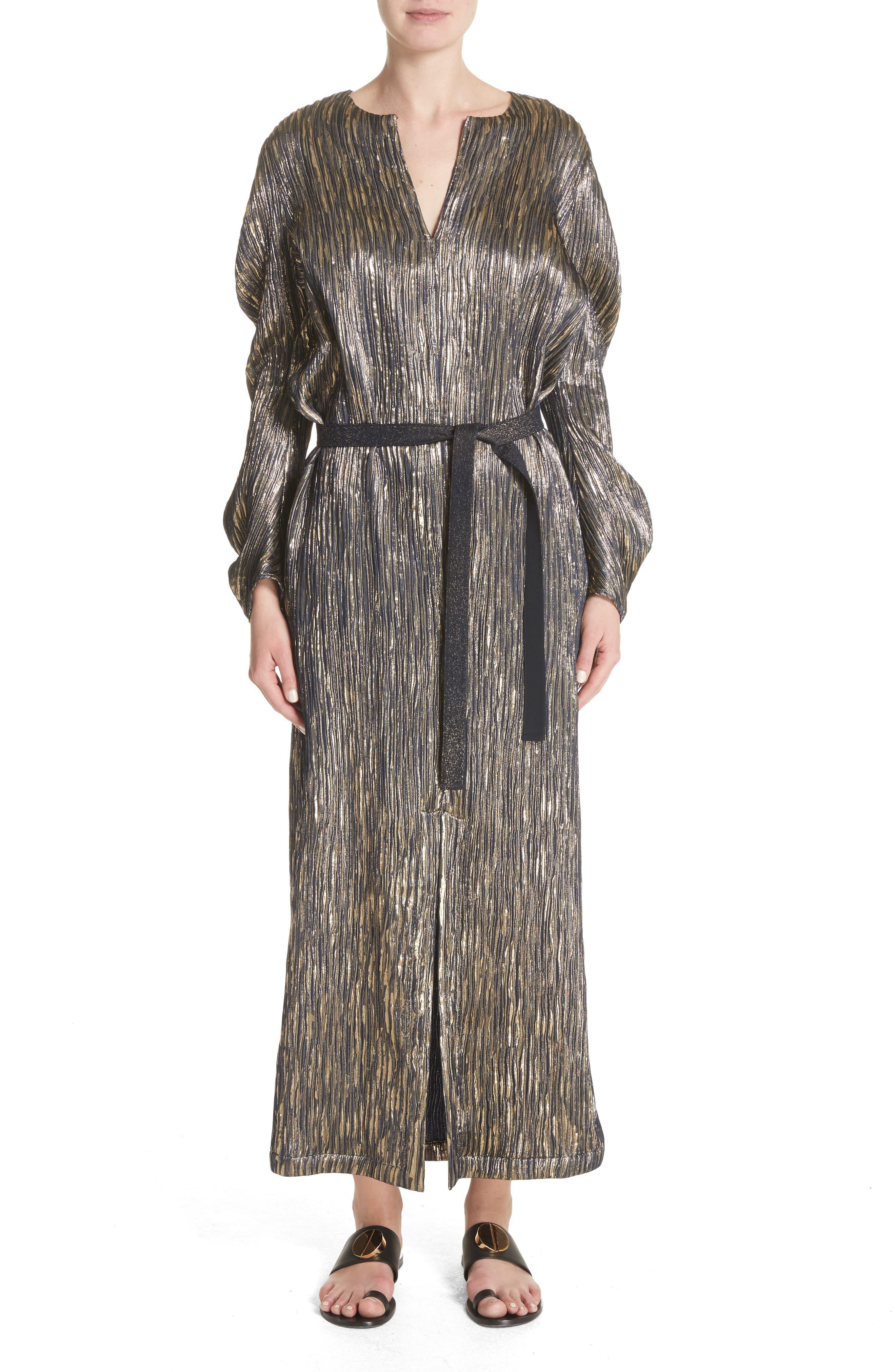 Metallic Silk Blend Midi Dress,                             Main thumbnail 1, color,                             004
