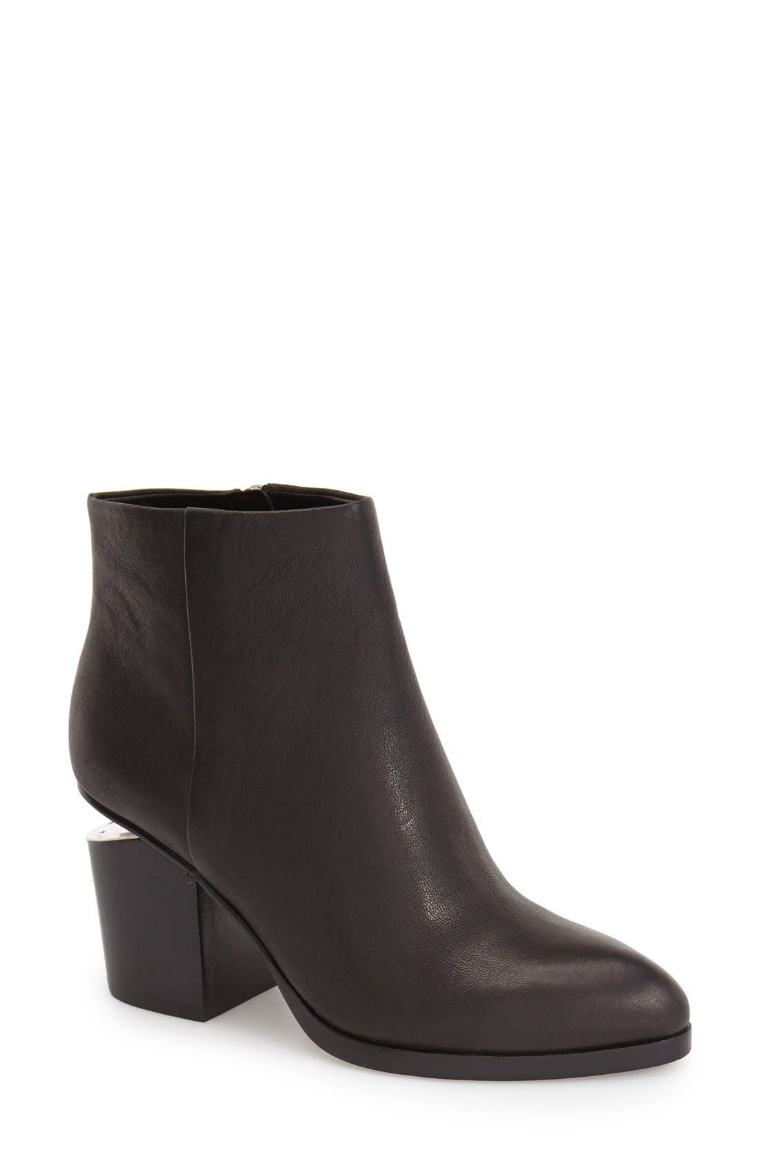 Gabi Leather Bootie,                         Main,                         color, BLACK LEATHER/ SILVER