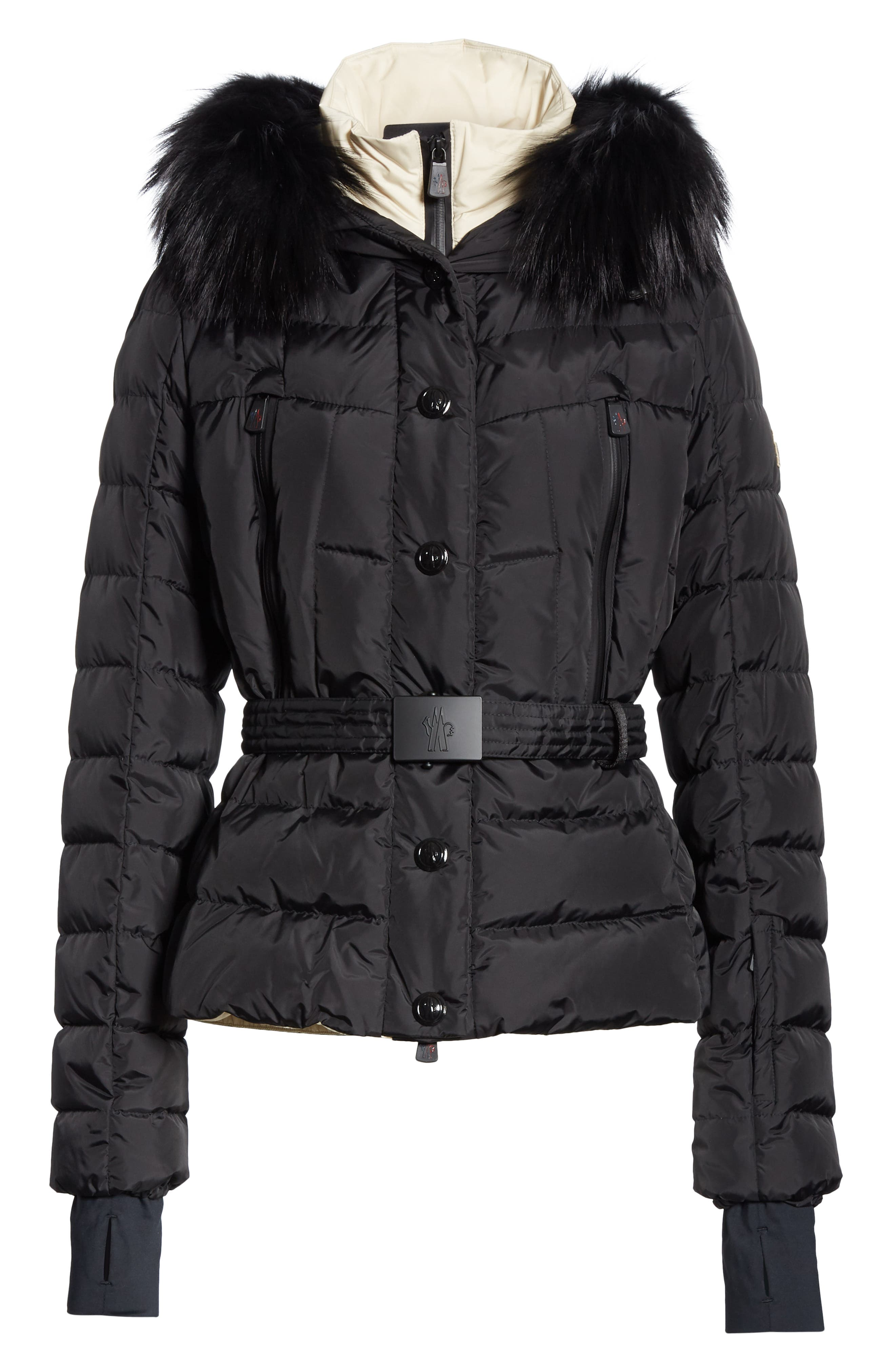 Beverley Genuine Fox Fur Trim Quilted Down Coat,                             Alternate thumbnail 5, color,                             001