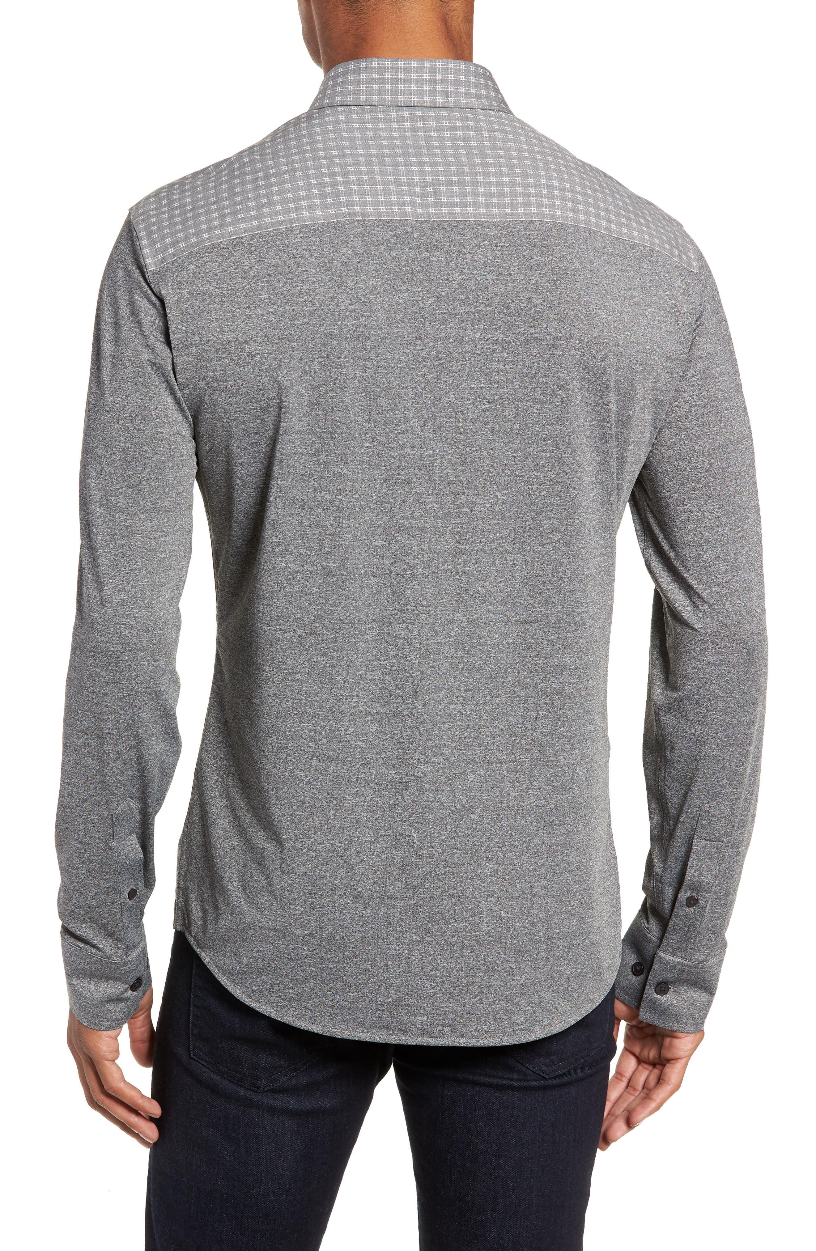 VINCE CAMUTO,                             Slim Fit Mixed Media Sport Shirt,                             Alternate thumbnail 3, color,                             034