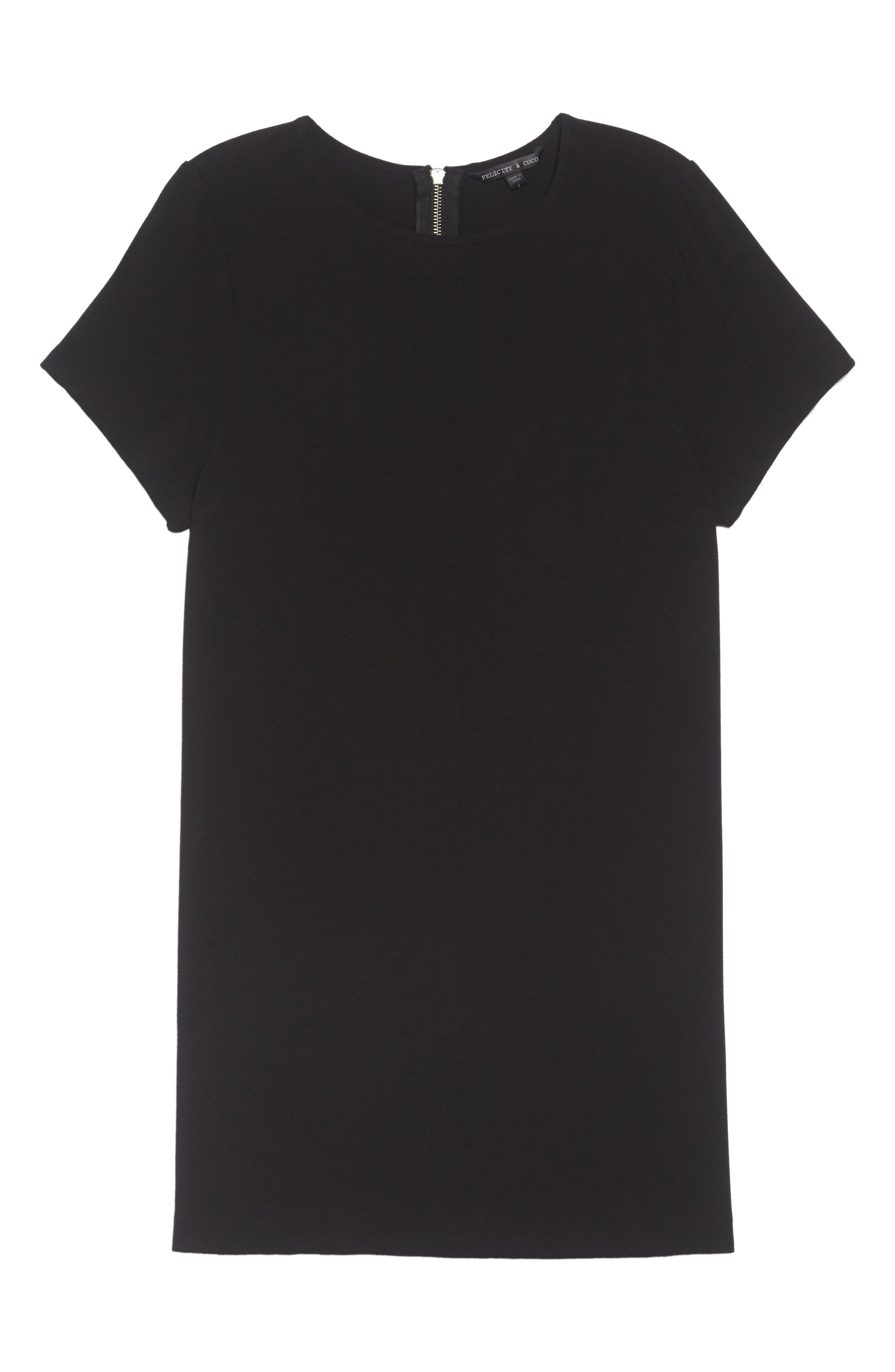 Devery Crepe Shift Dress,                             Alternate thumbnail 2, color,                             BLACK
