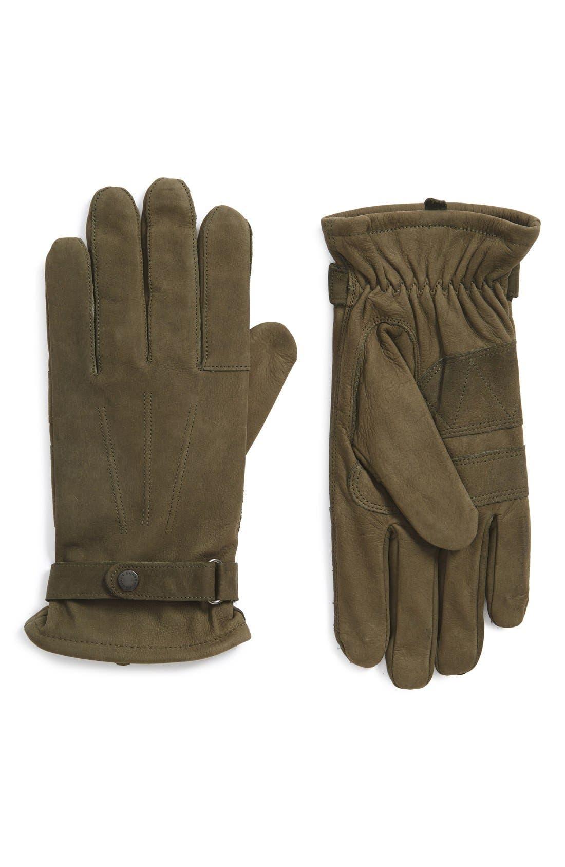 Leather Gloves,                         Main,                         color, OLIVE