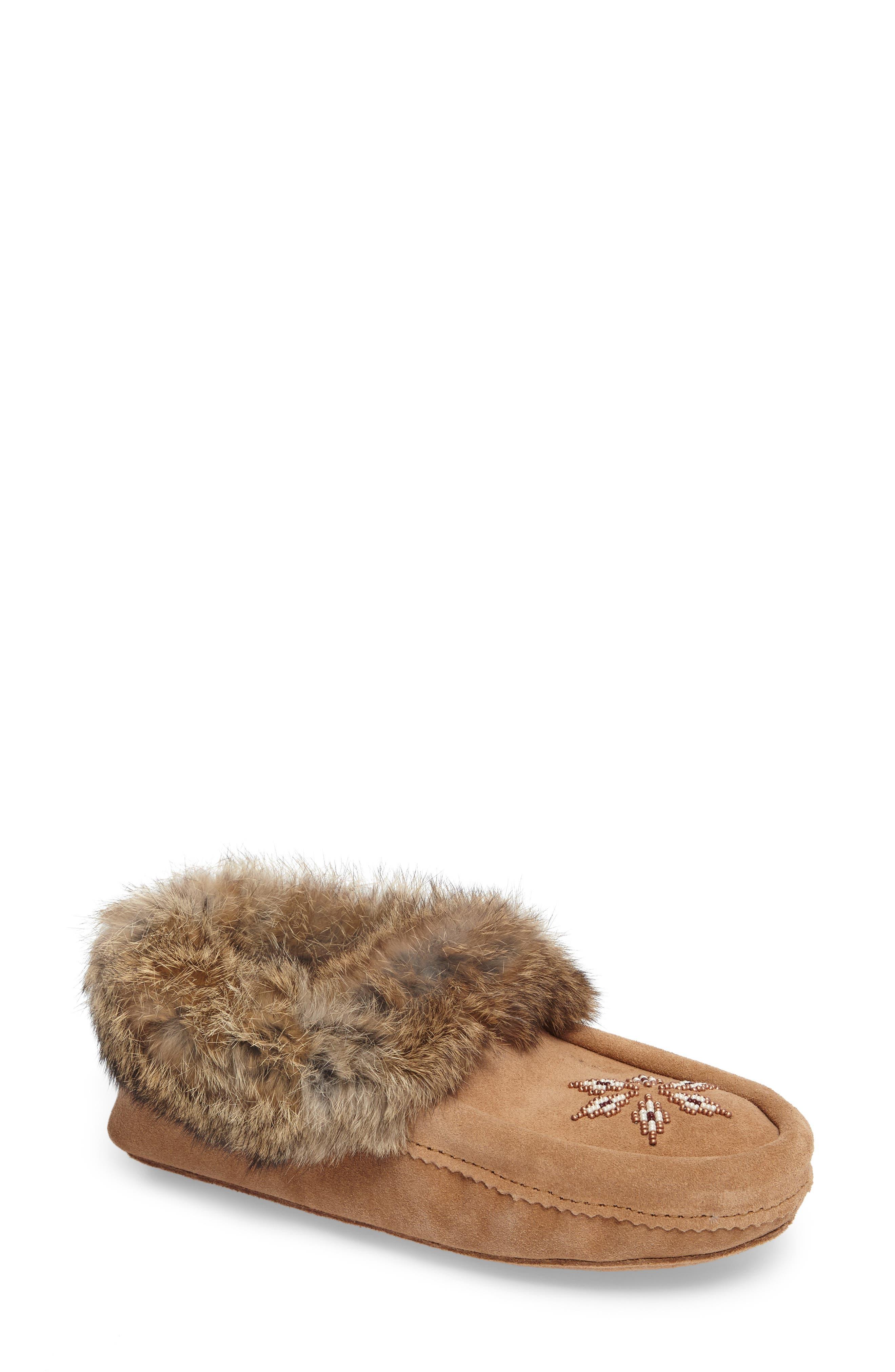 'Kanada' Genuine Rabbit Fur & Suede Moccasin Slipper,                             Main thumbnail 1, color,                             OAK FUR