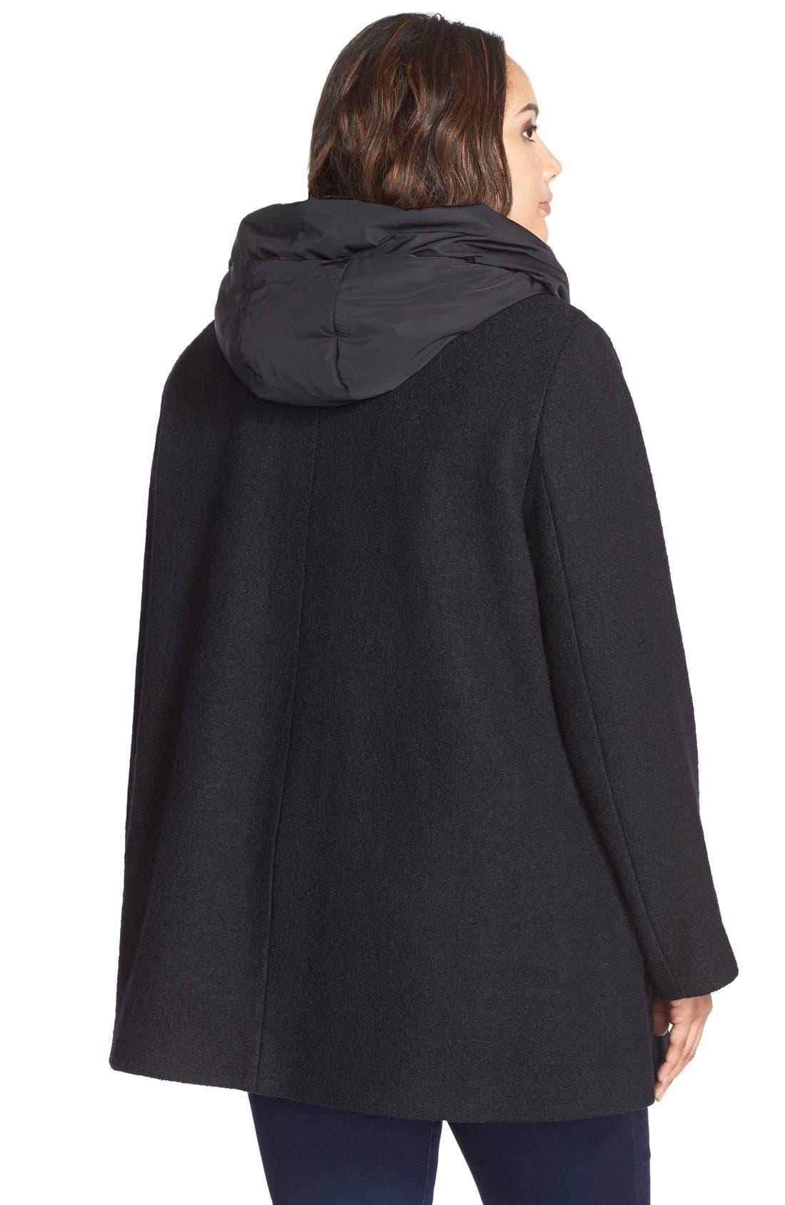 Hooded Boiled Wool Blend Swing Coat,                             Alternate thumbnail 3, color,                             001