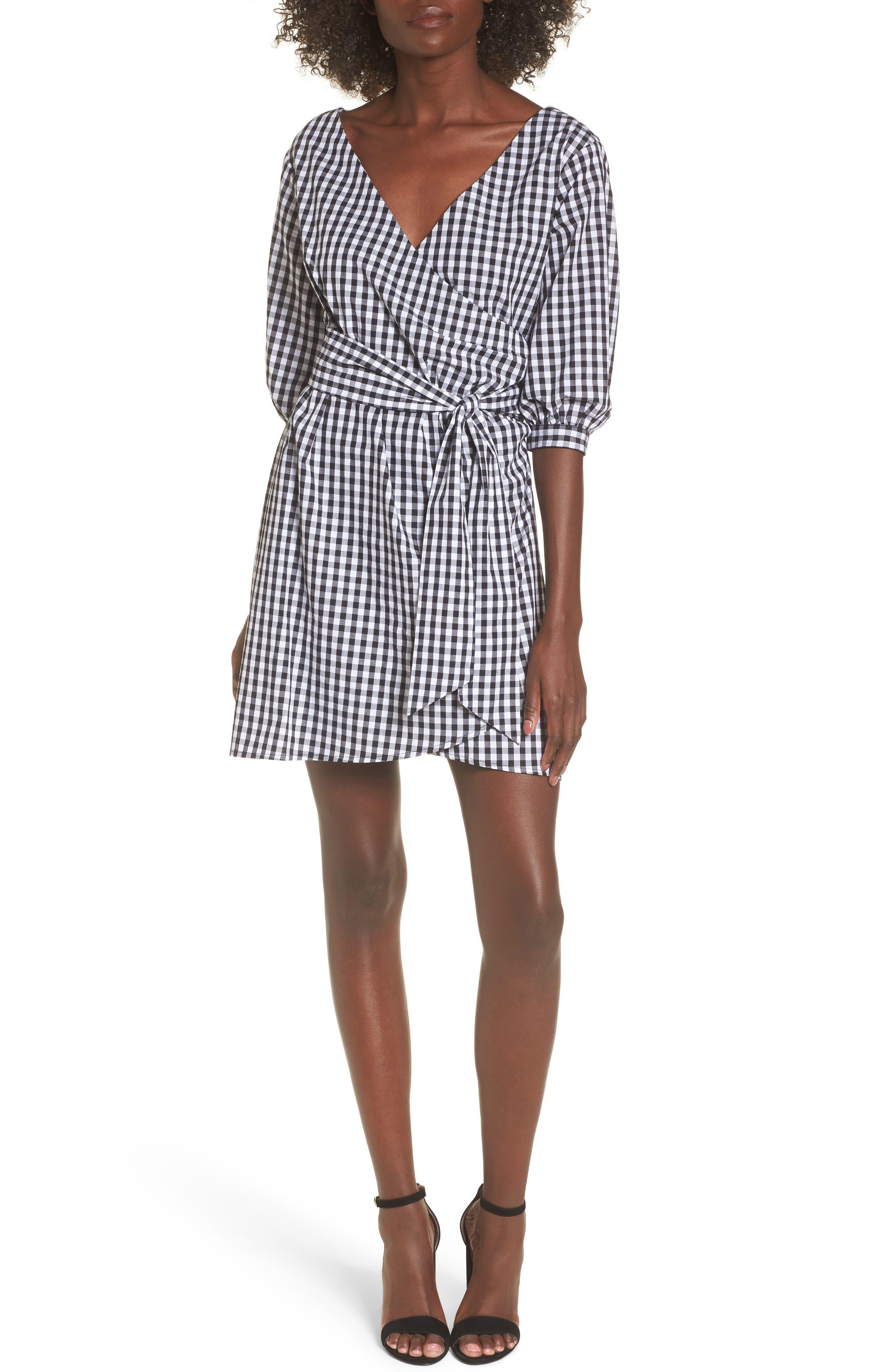 Cotton Poplin Wrap Dress,                             Main thumbnail 1, color,                             001