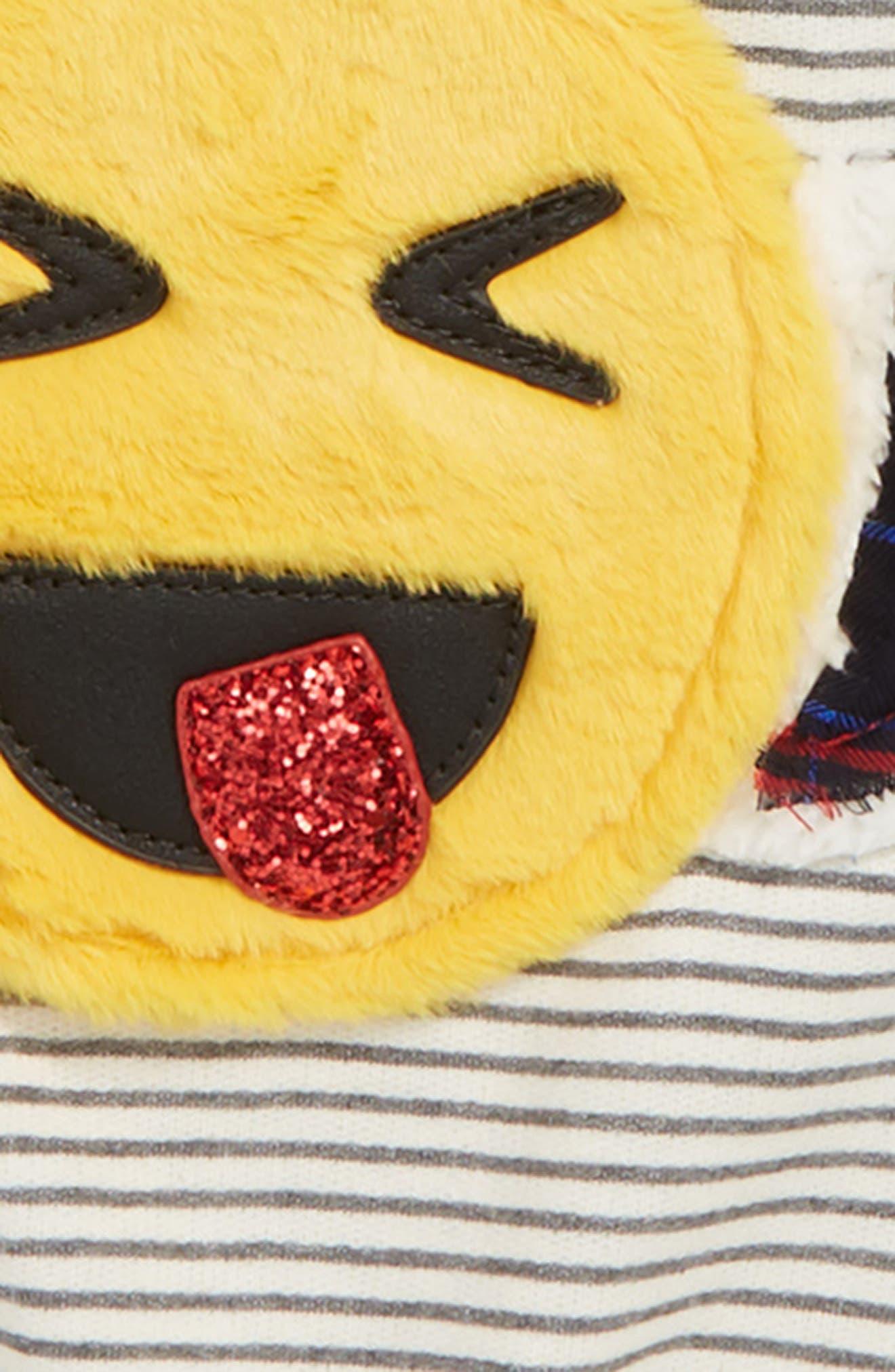 Faux Fur Emoji Stripe Sweatshirt,                             Alternate thumbnail 2, color,                             GREY