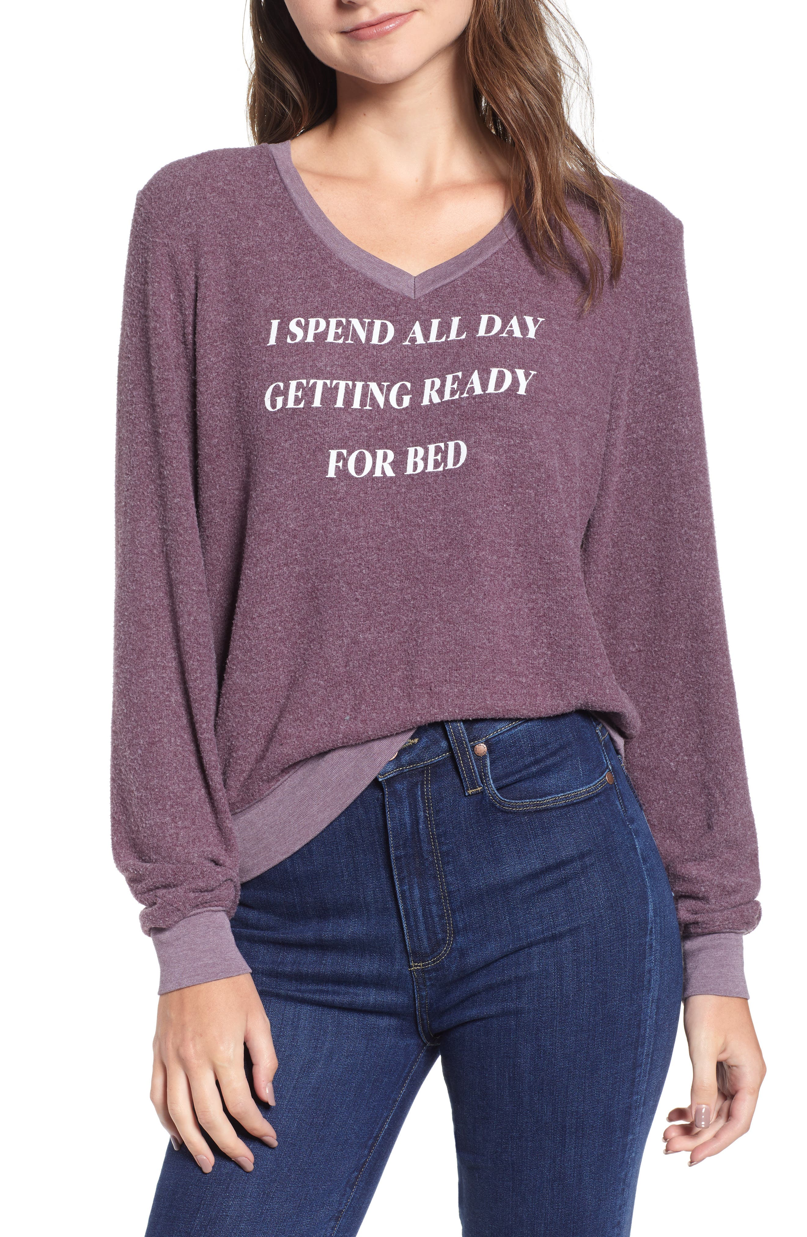 Ready For Bed Baggy Beach Jumper Sweatshirt,                             Main thumbnail 1, color,                             CRUSHED BERRY