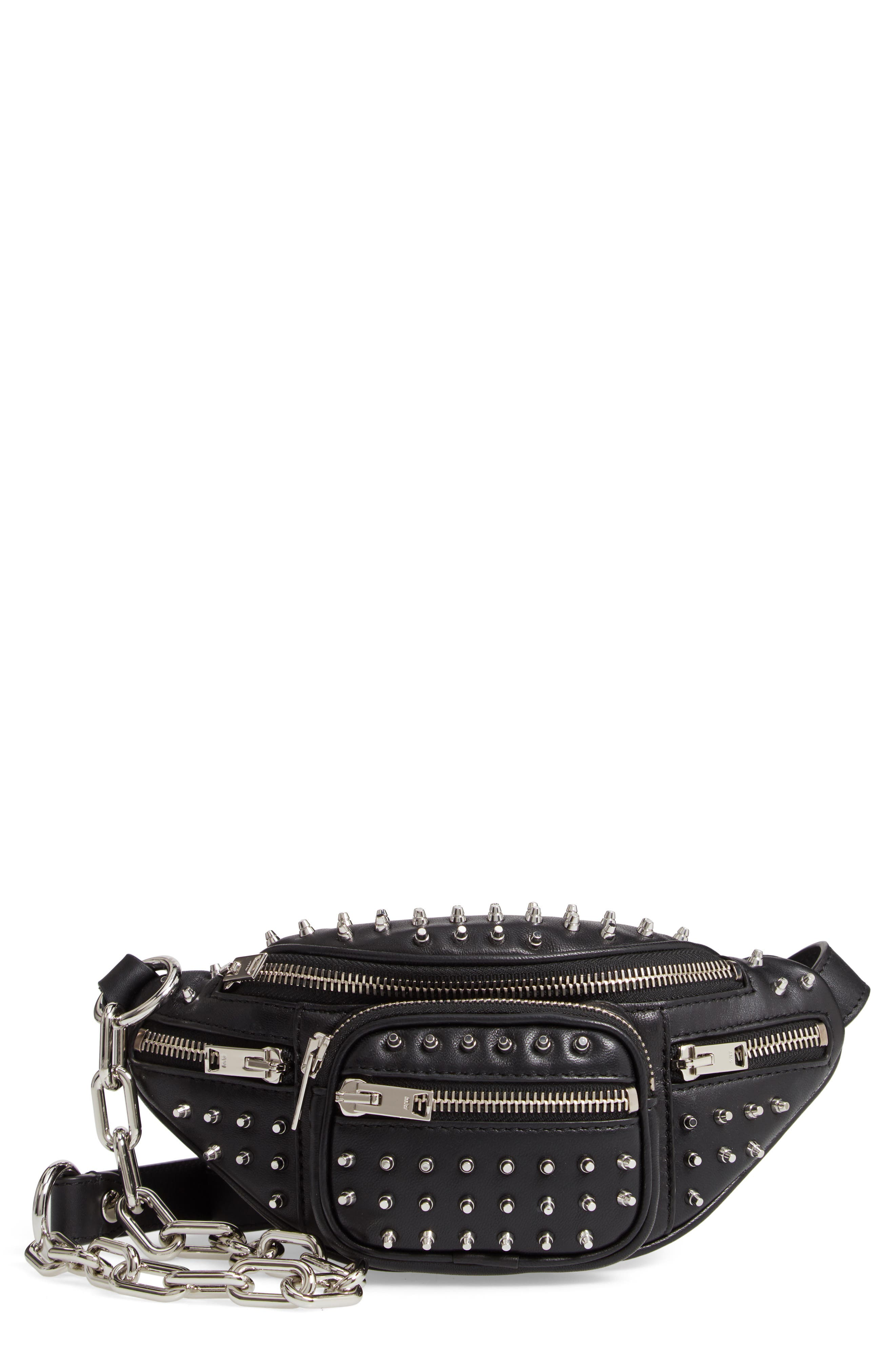 Attica Studded Lambskin Leather Fanny Pack,                         Main,                         color, BLACK